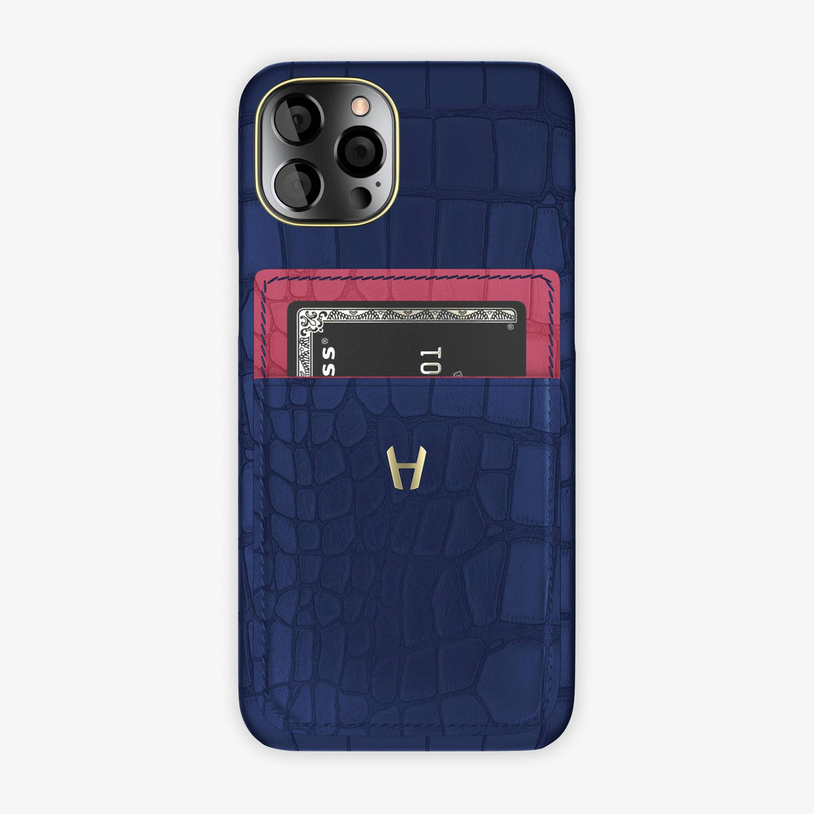 Alligator Pocket Case iPhone 12 & 12 Pro | Navy Blue/Pink Girly - Yellow Gold