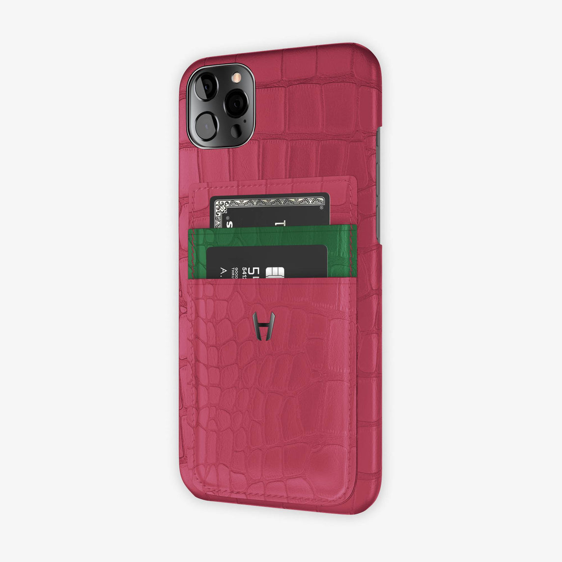 Alligator Pocket Case iPhone 12 Pro Max | Pink Girly/Green Emerald - Black