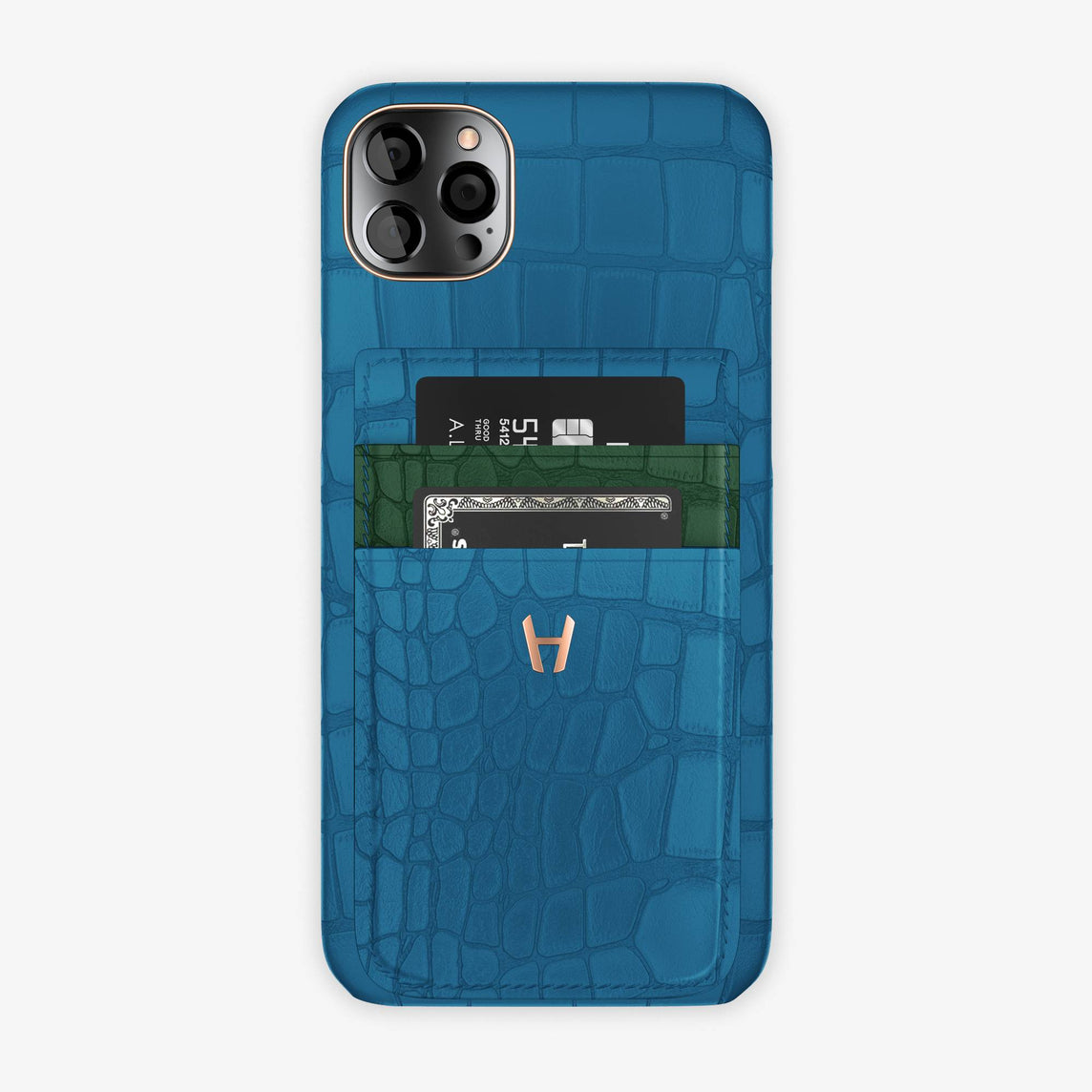 Alligator Pocket Case iPhone  12 Pro Max | Blue Lagoon/Green - Rose Gold