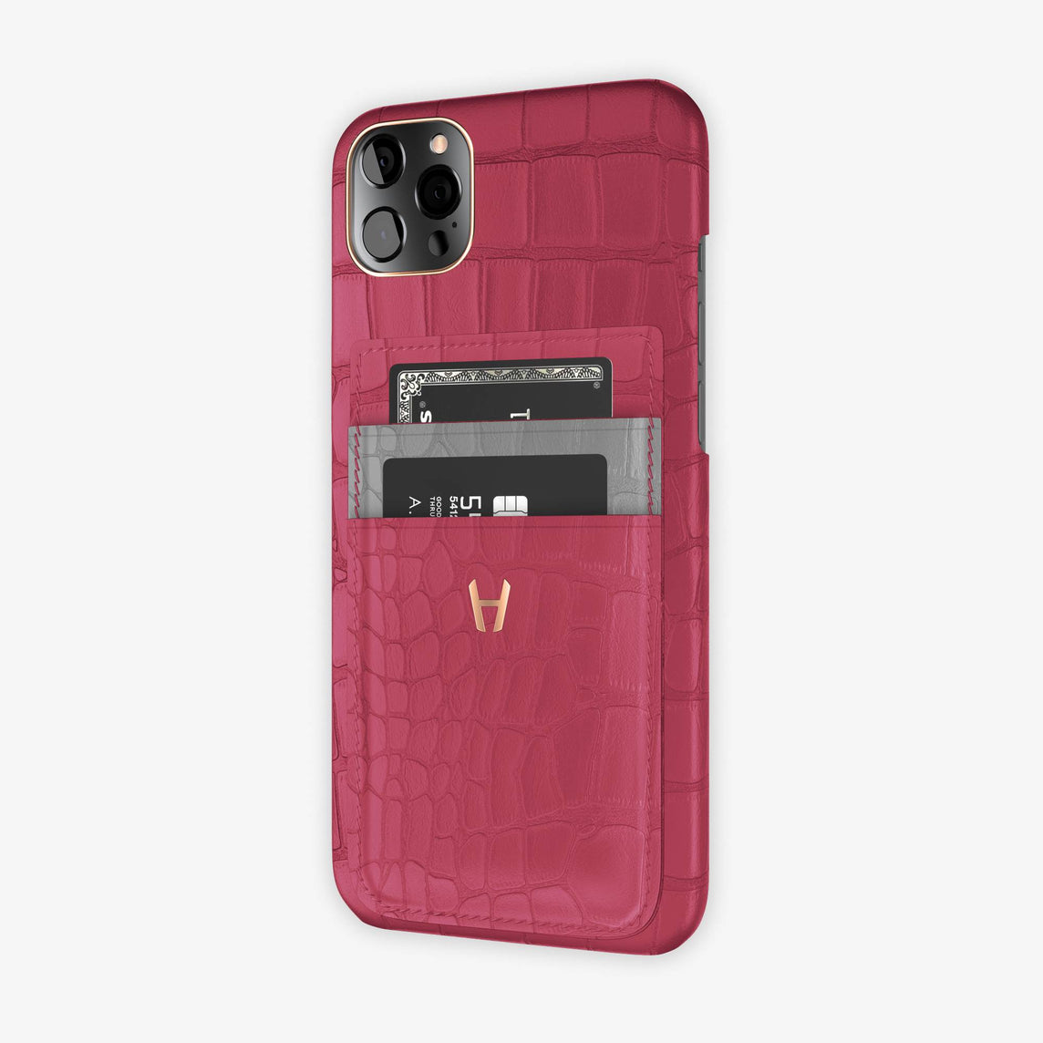 Alligator Pocket Case iPhone 12 Pro Max | Pink Girly/Silver - Rose Gold