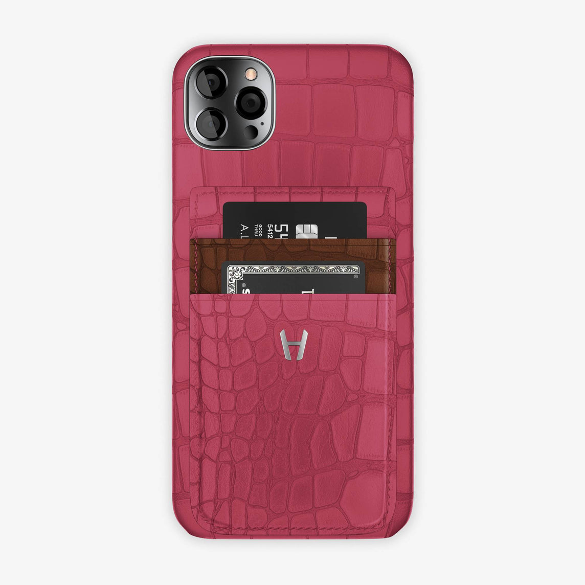 Alligator Pocket Case iPhone 12 Pro Max | Pink Girly/Brown - Stainless Steel