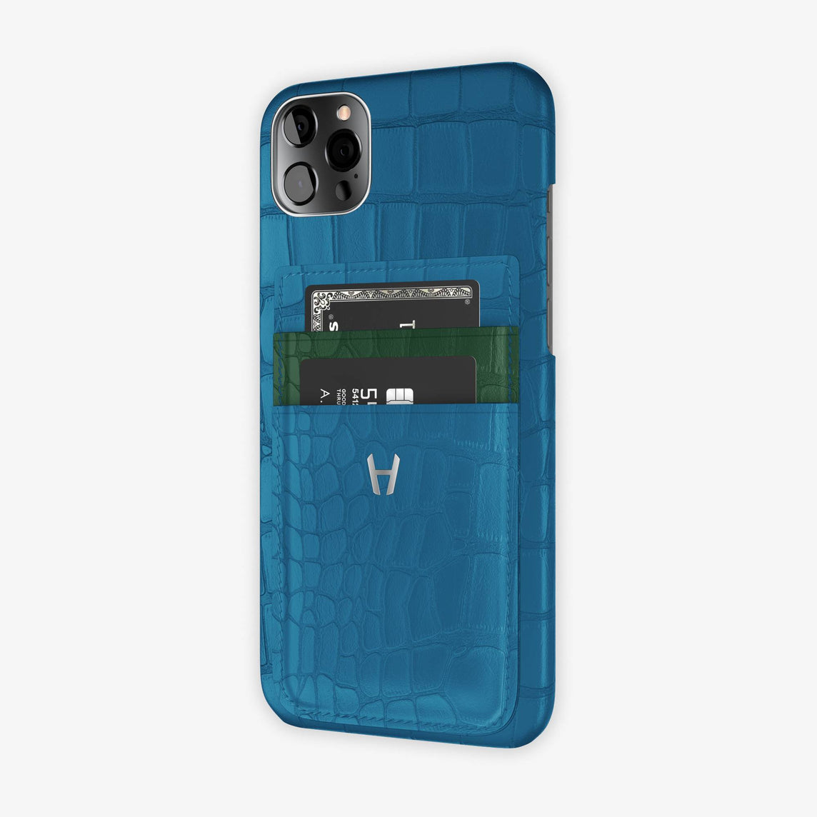 Alligator Pocket Case iPhone 12 Pro Max | Blue Lagoon/Green - Stainless Steel