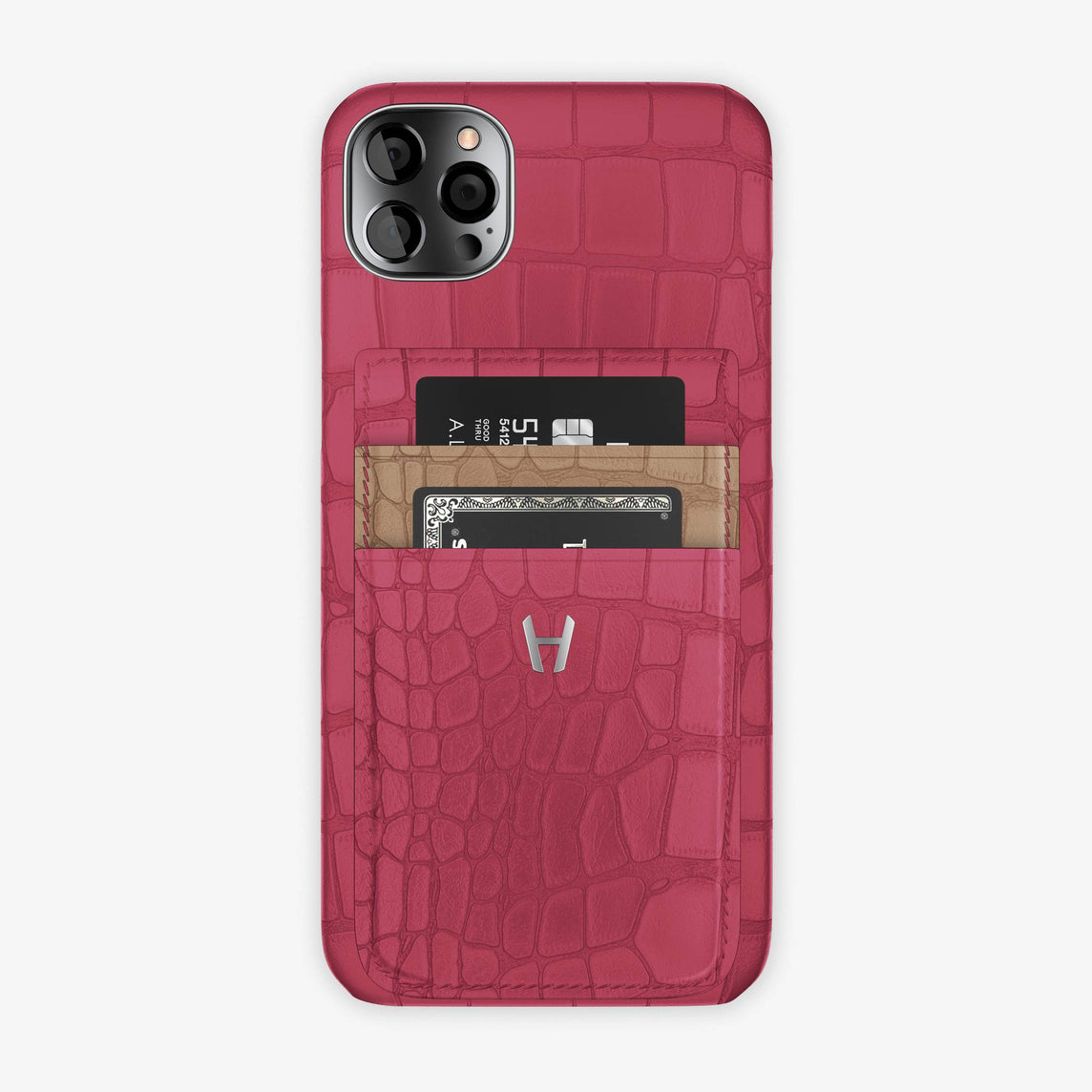 Alligator Pocket Case iPhone 12 Pro Max | Pink Girly/Latte - Stainless Steel