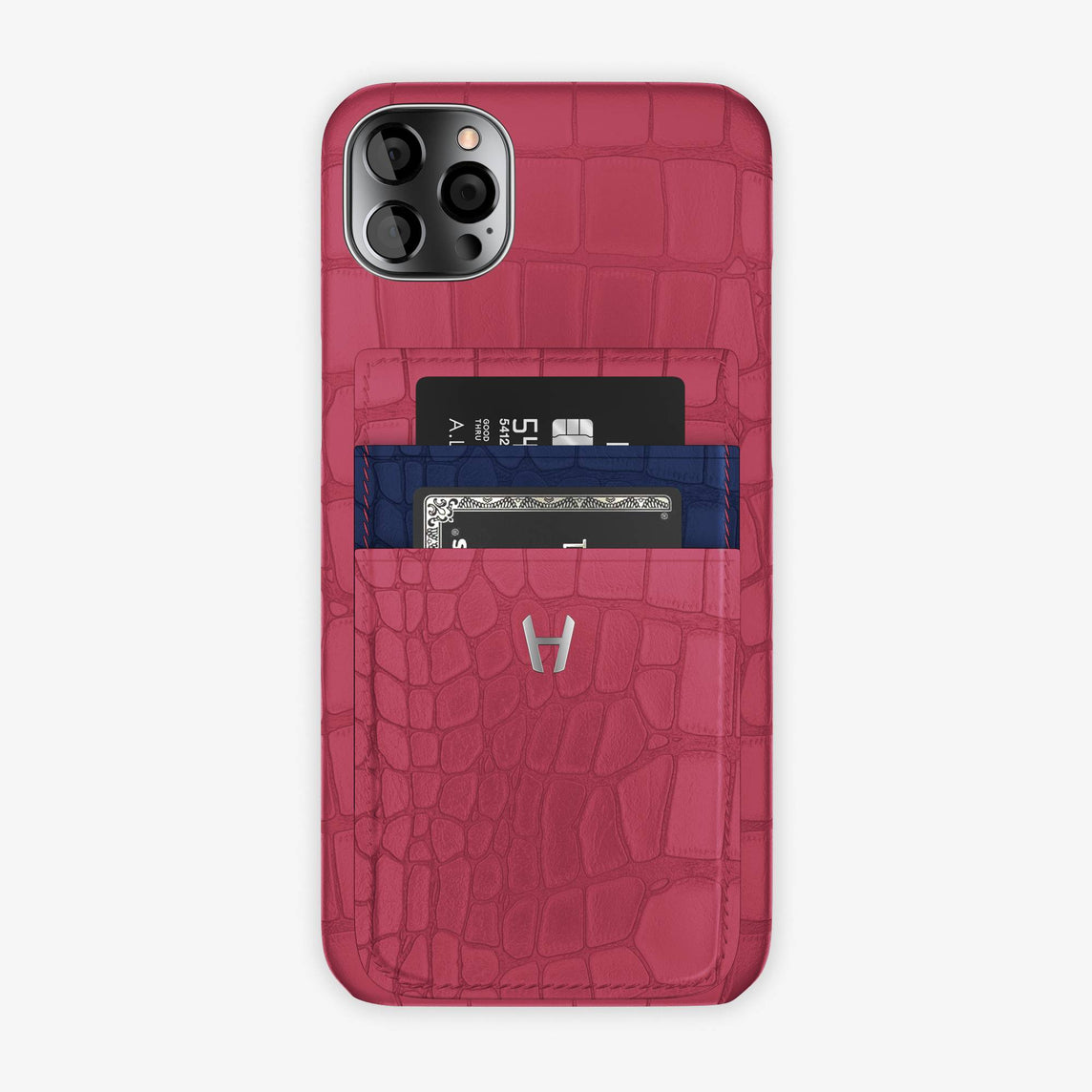 Alligator Pocket Case iPhone 12 Pro Max | Pink Girly/Navy Blue - Stainless Steel