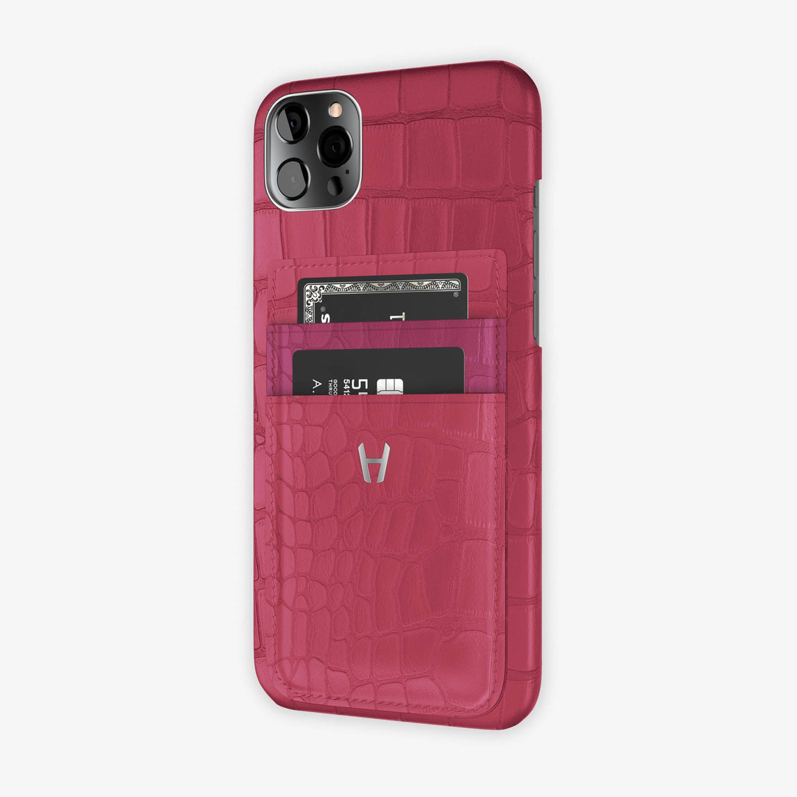 Alligator Pocket Case iPhone 12 Pro Max | Pink Girly/Pink Fuchsia - Stainless Steel