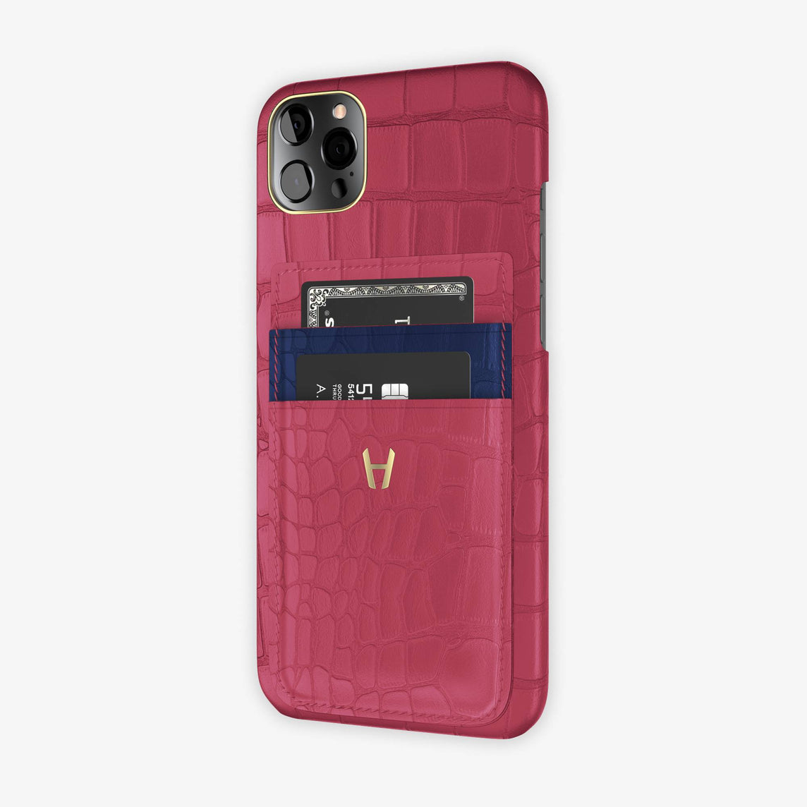 Alligator Pocket Case iPhone 12 Pro Max | Pink Girly/Navy Blue - Yellow Gold