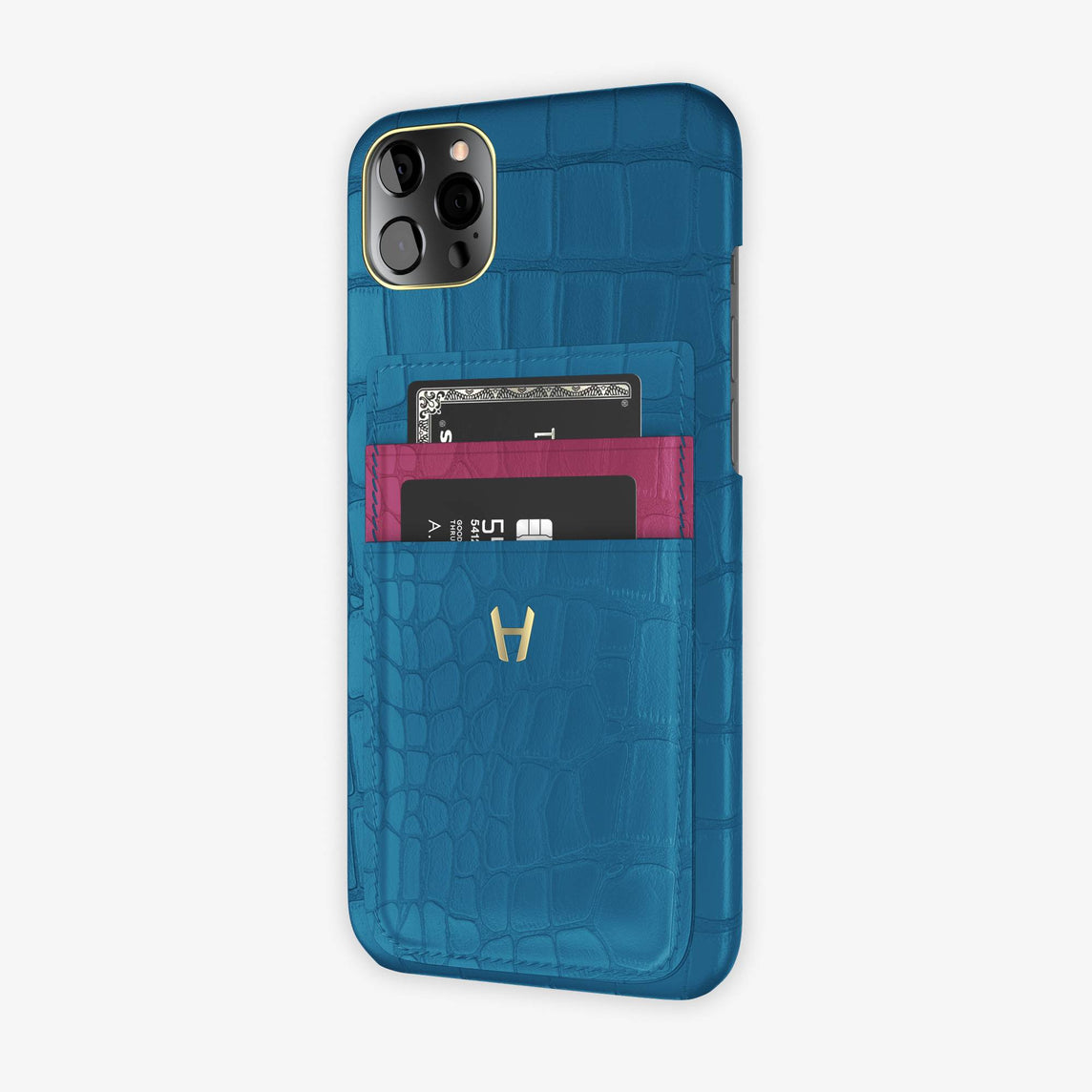 Alligator Pocket Case iPhone 12 Pro Max | Blue Lagoon/Pink Fuchsia - Yellow Gold