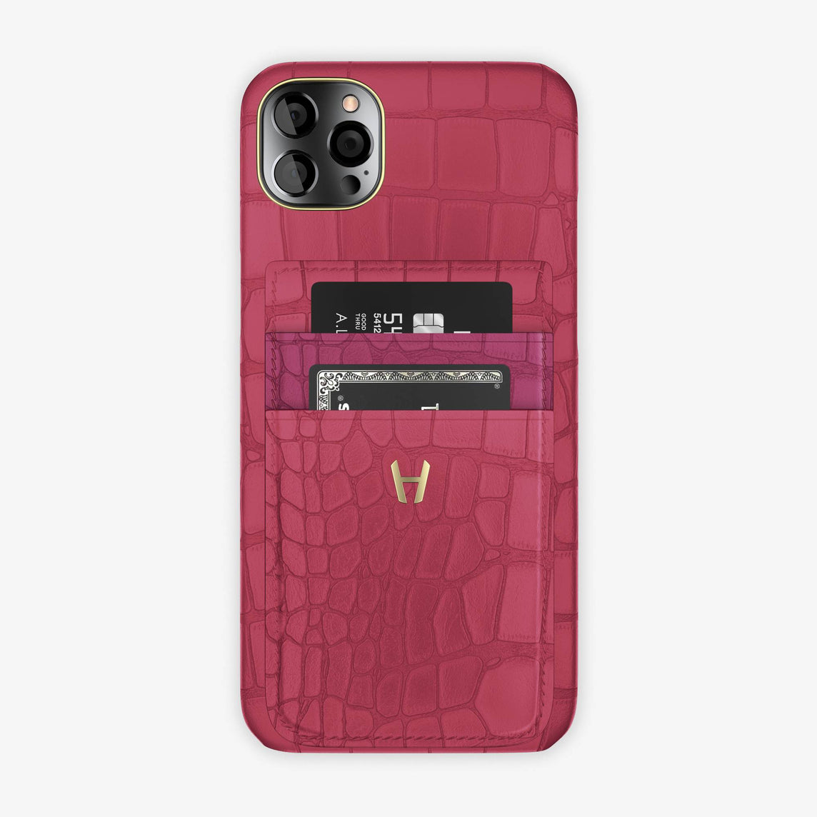Alligator Pocket Case iPhone 12 Pro Max | Pink Girly/Pink Fuchsia - Yellow Gold