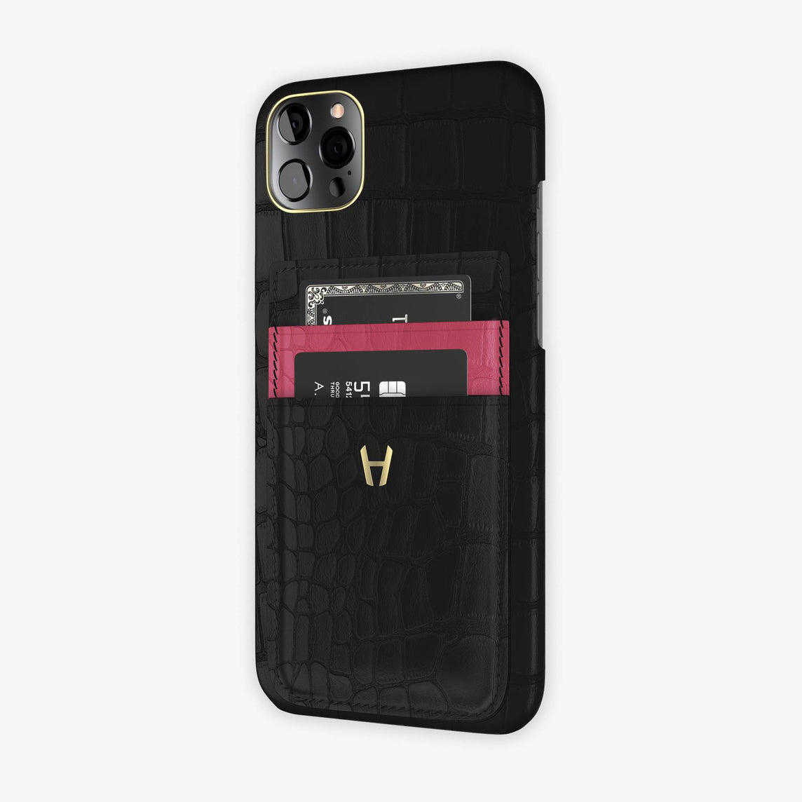 iPhone 12 Pro Max | Black/Pink Girly - Yellow Gold