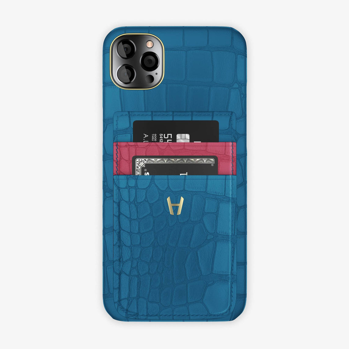 Alligator Pocket Case iPhone 12 Pro Max | Blue Lagoon/Pink Girly - Yellow Gold