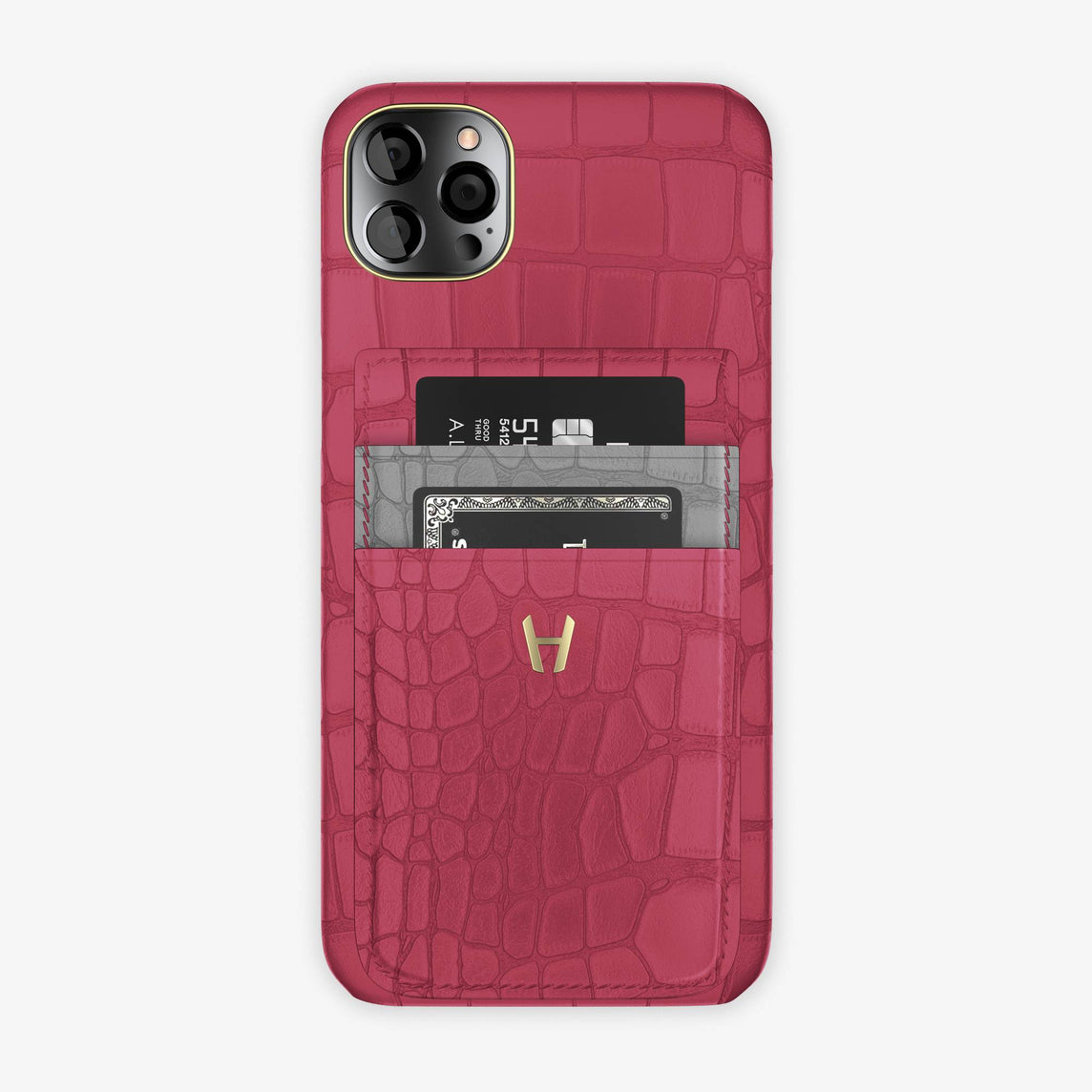 Alligator Pocket Case iPhone 12 Pro Max | Pink Girly/Silver - Yellow Gold