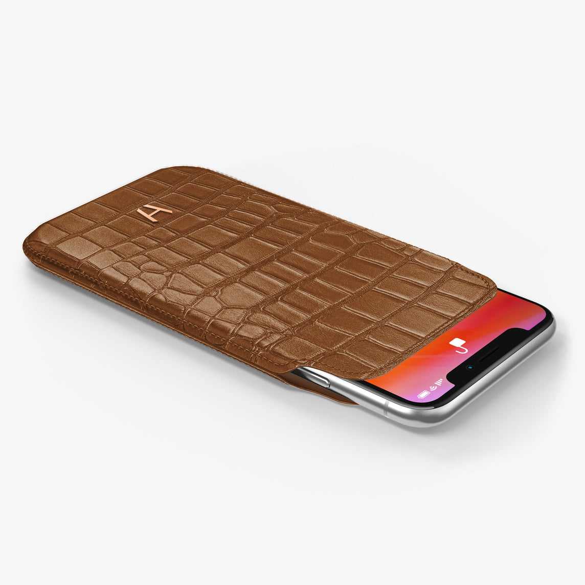 Alligator Sleeve Case iPhone 11 Pro | Brown Cognac - Rose Gold