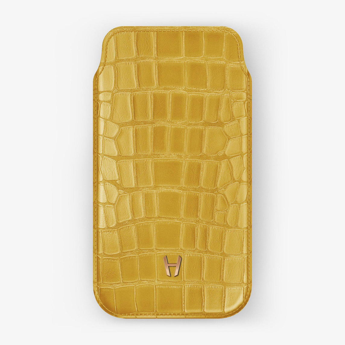 Alligator Sleeve Case iPhone 11 Pro Max | Yellow - Rose Gold