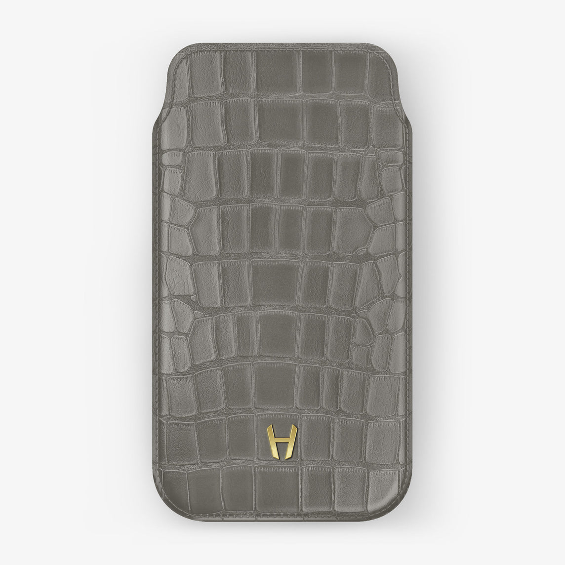 Alligator Sleeve Case iPhone 11 | Pearl Grey - Yellow Gold