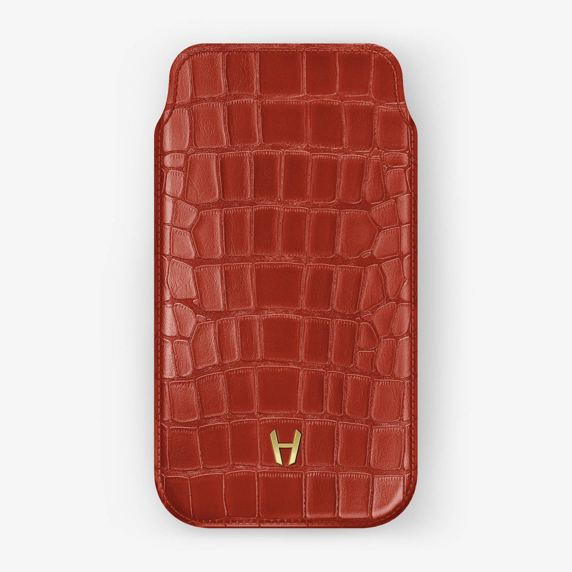 Alligator Sleeve Case iPhone 11 Pro Max | Red Lipstick - Yellow Gold