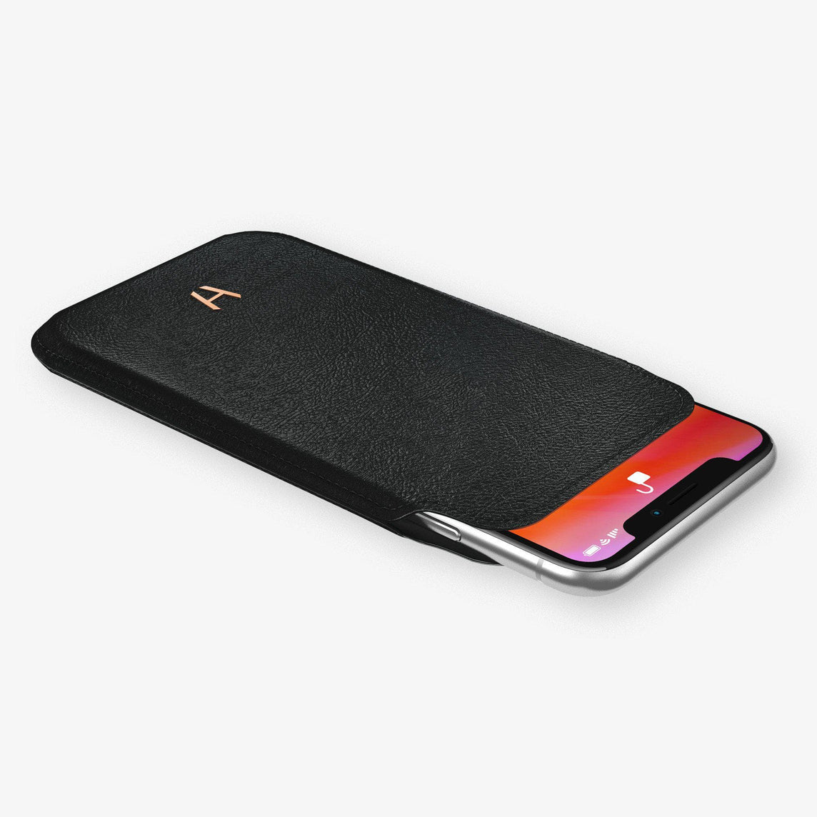 Calfskin Sleeve Case iPhone 11 Pro | Black - Rose Gold