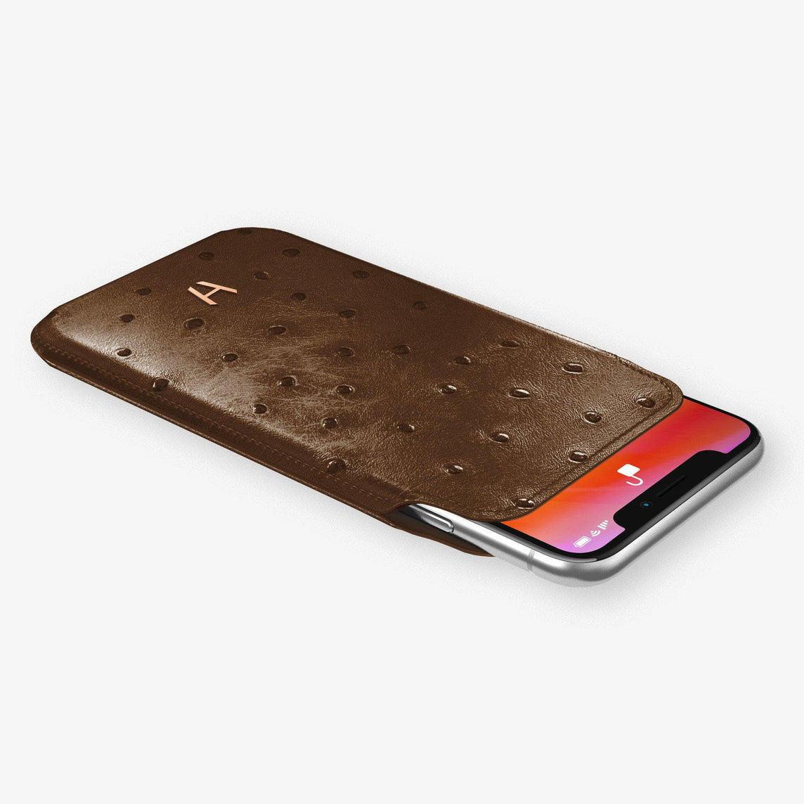 Ostrich Sleeve Case iPhone 11 Pro | Tobacco - Rose Gold