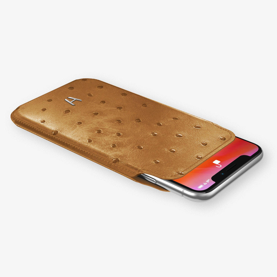 Ostrich Sleeve Case iPhone 11 Pro | Chestnut - Stainless Steel