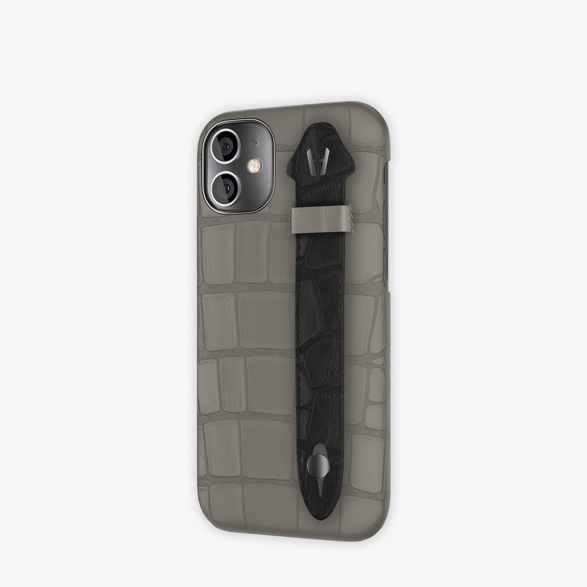 Alligator Side Finger Case iPhone 12 Mini | Grey Pearl/Black -Black