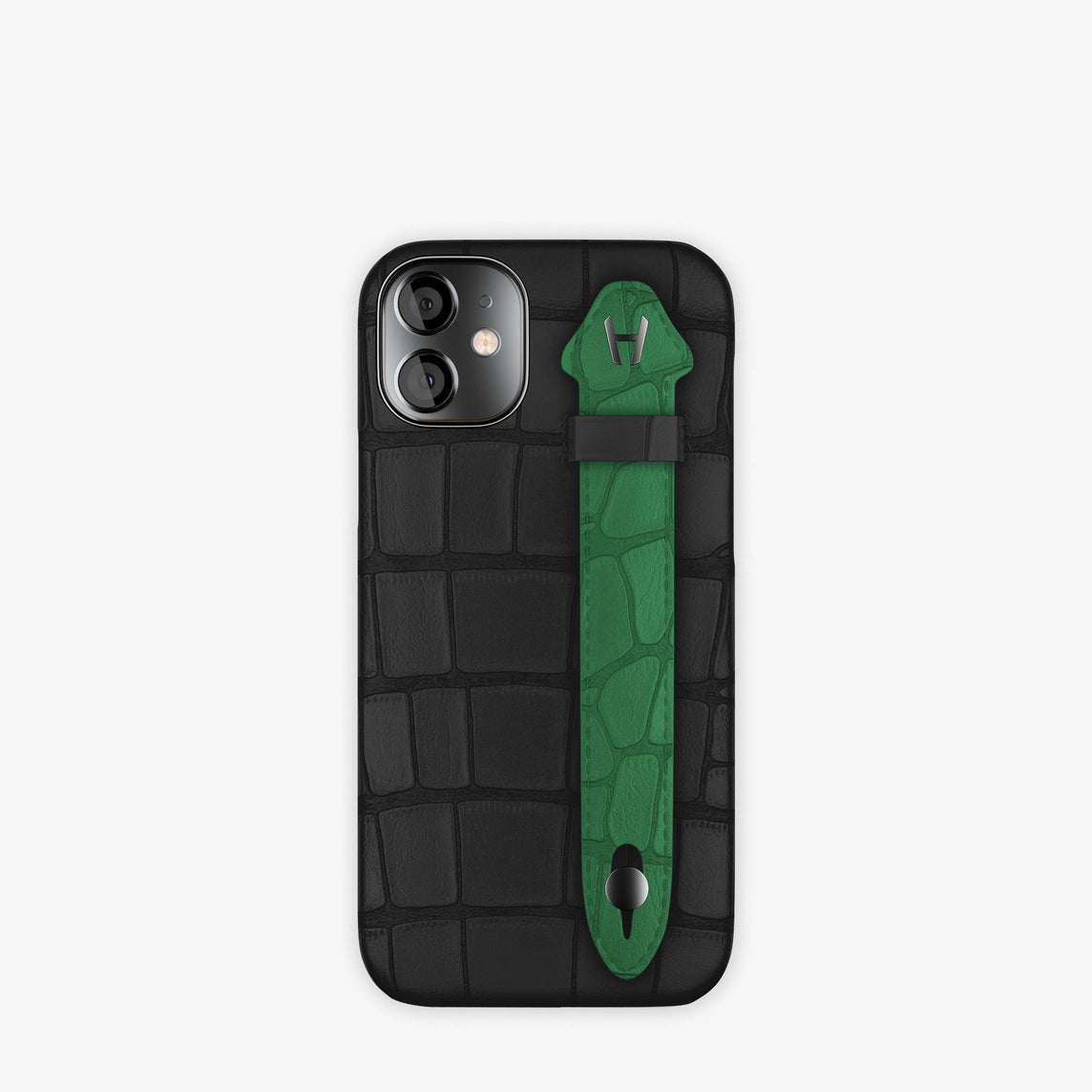 Alligator Side Finger Case iPhone 12 Mini | Black/Green Emerald -Black