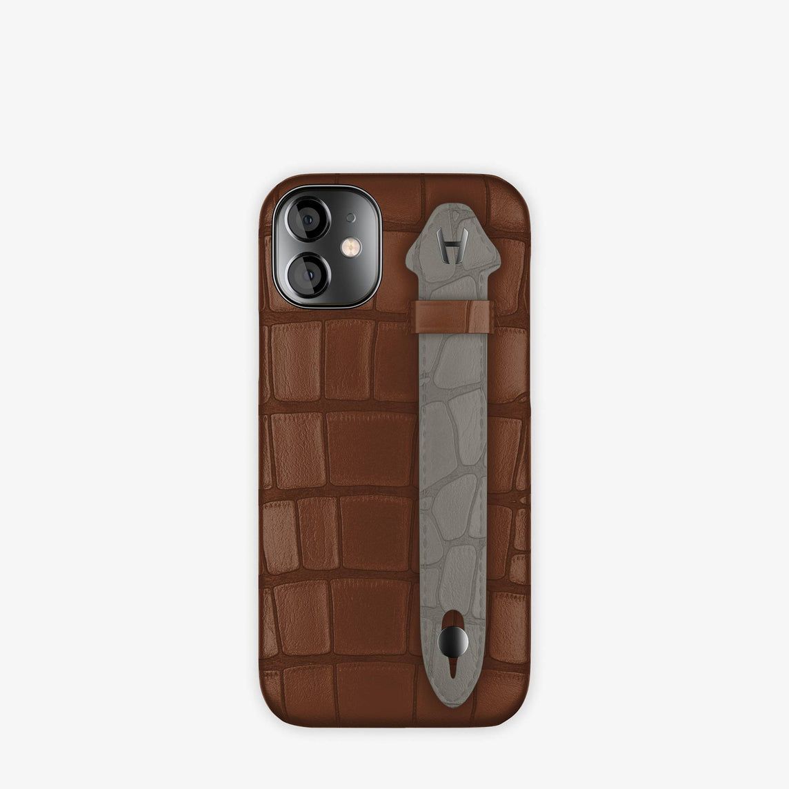 Alligator Side Finger Case iPhone 12 Mini | Brown Chocolat/Grey Pearl  -Black