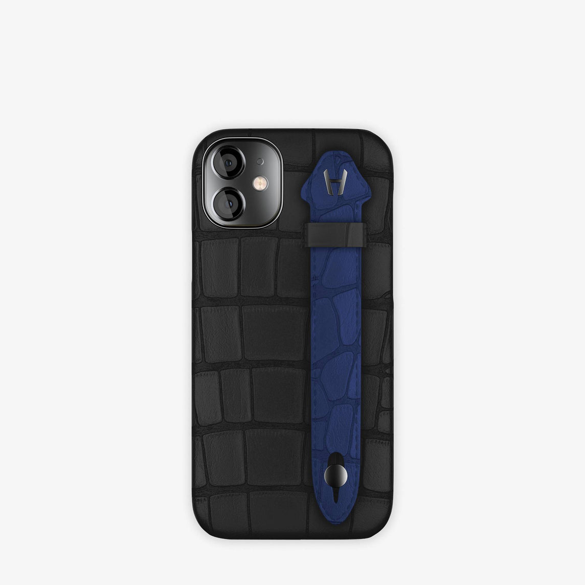 Alligator Side Finger Case iPhone 12 Mini | Black/Navy Blue -Black