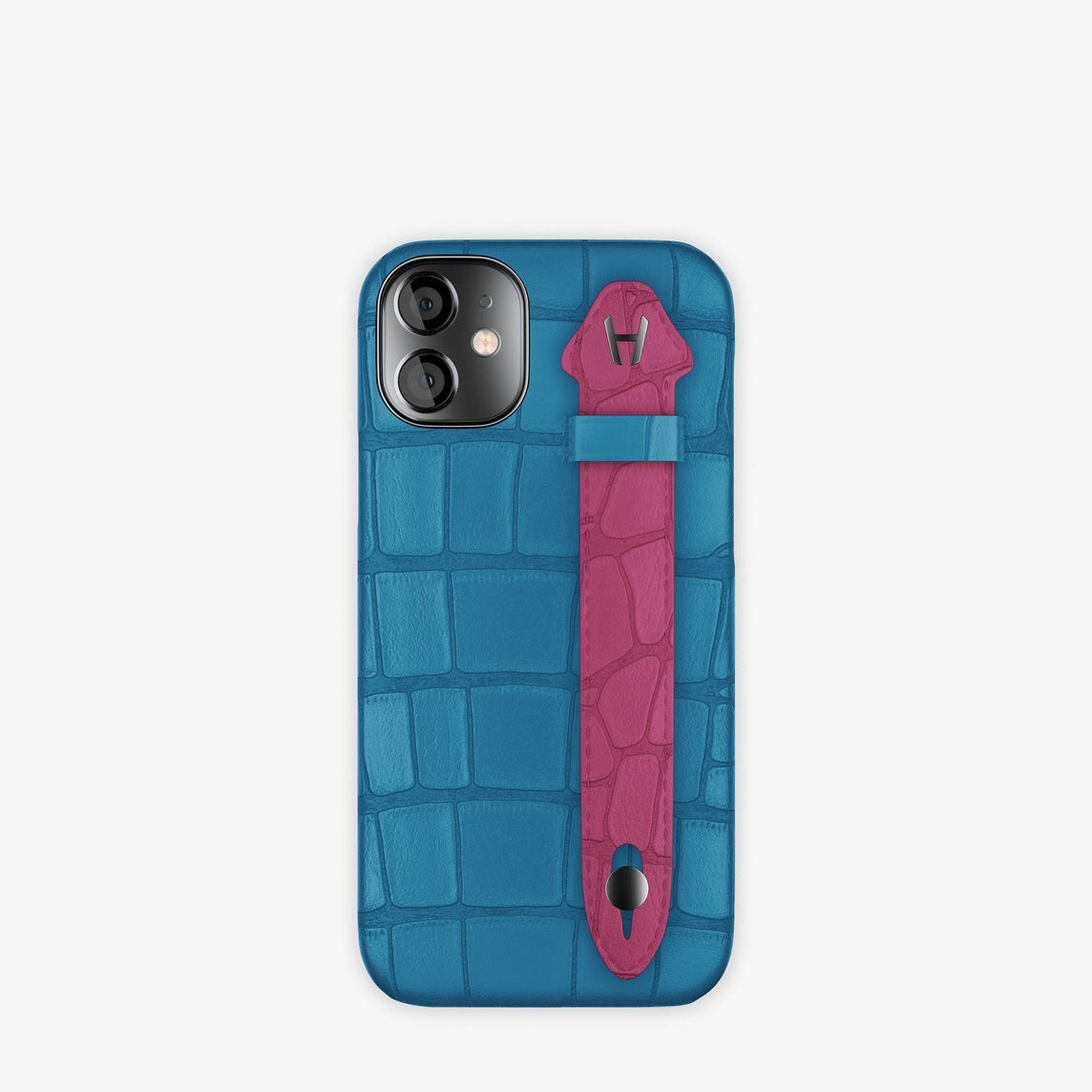 Alligator Side Finger Case iPhone 12 Mini | Blue Lagoon/Pink Fuchsia -Black
