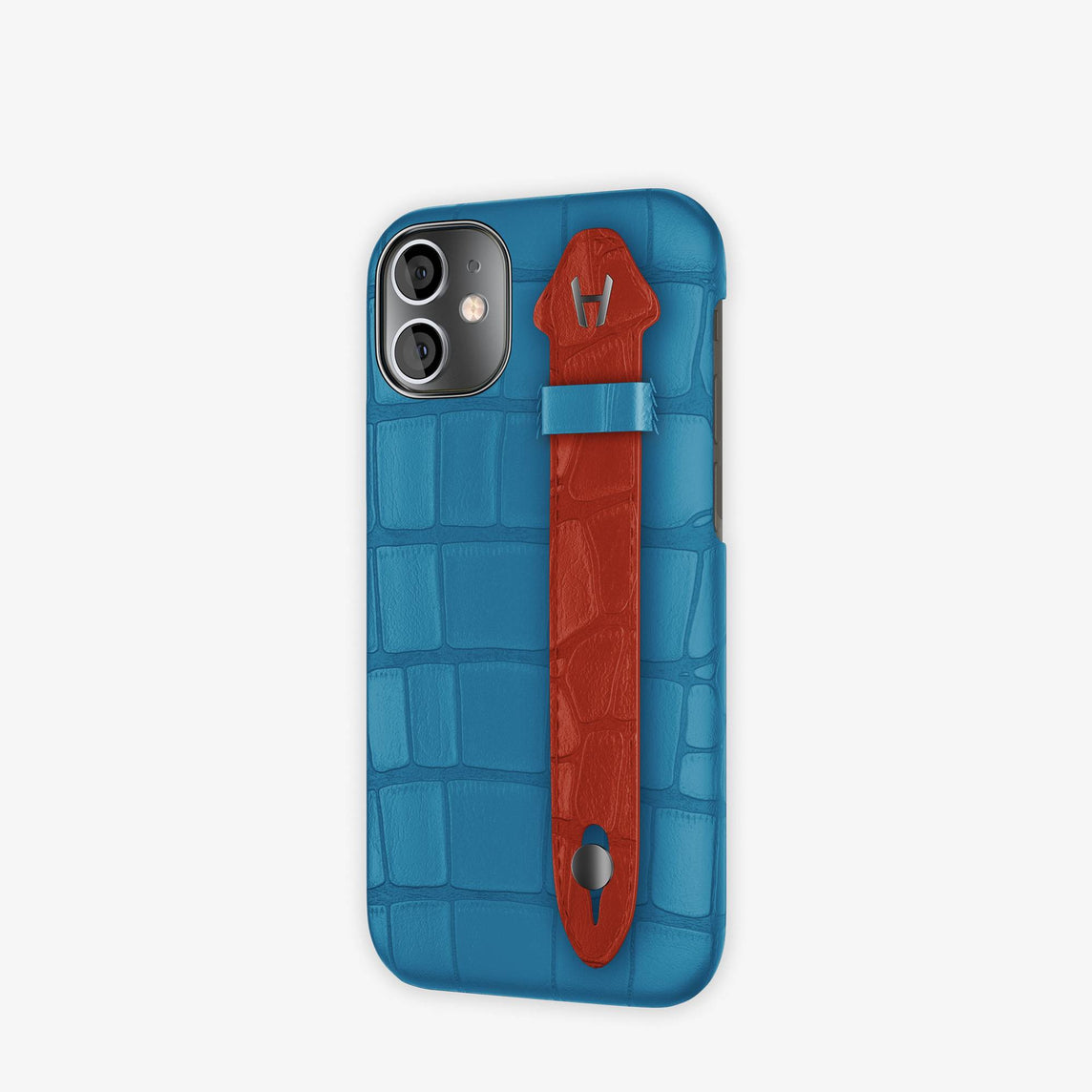 Alligator Side Finger Case iPhone 12 Mini | Blue Lagoon/Red Ruby -Black