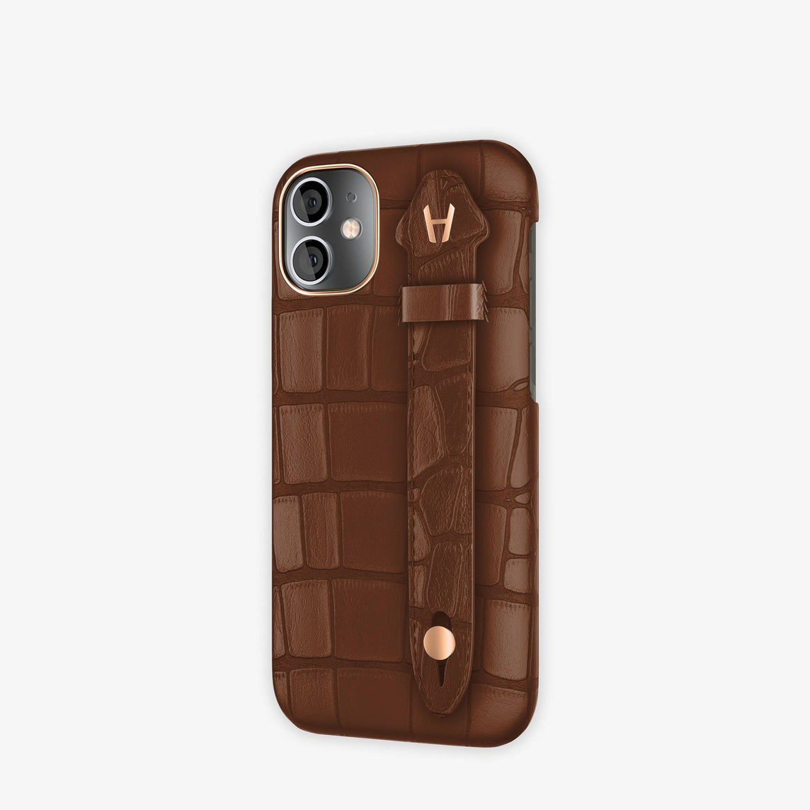 Alligator Side Finger Case iPhone 12 Mini | Brown Chocolat/Brown Chocolat -Rose Gold