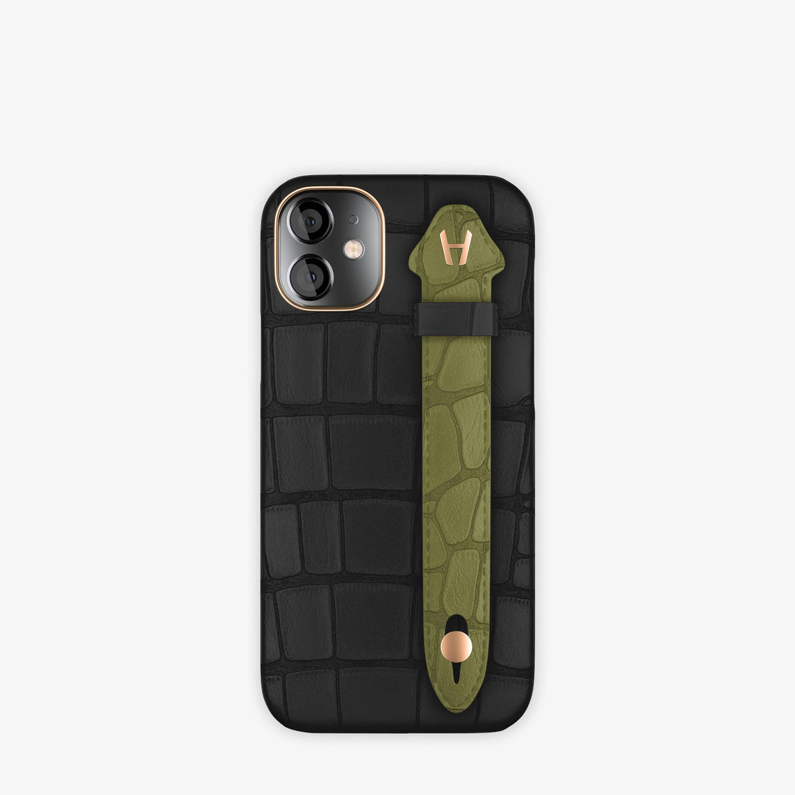 Alligator Side Finger Case iPhone 12 Mini | Black/Khaki -Rose Gold