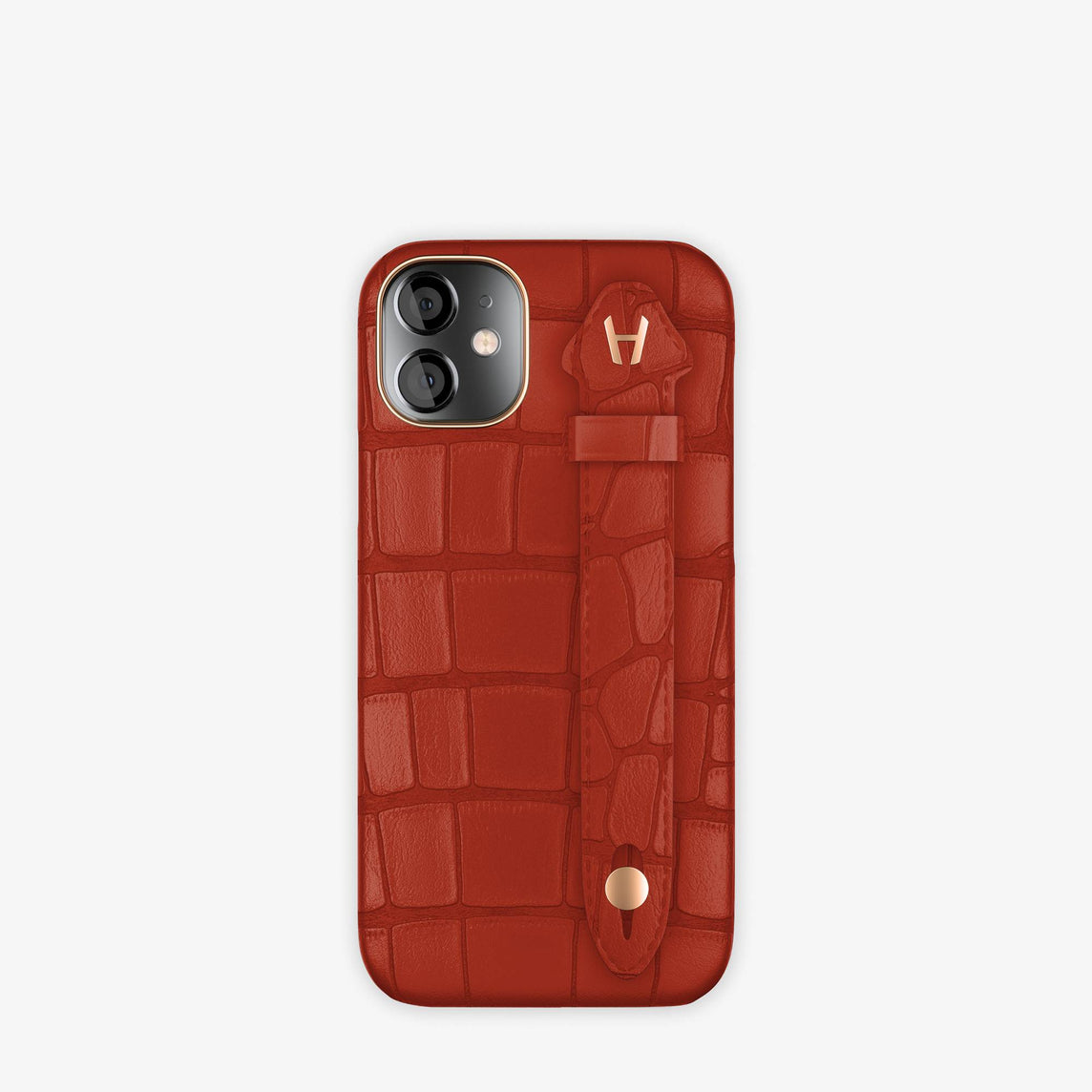 Alligator Side Finger Case iPhone 12 Mini | Red Ruby/Red Ruby -Rose Gold