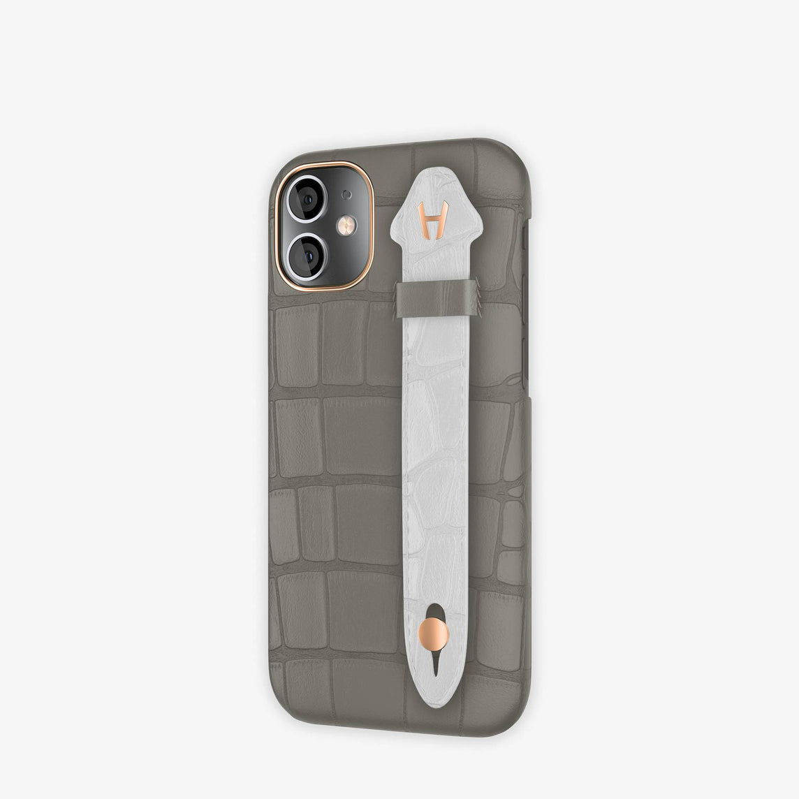 Alligator Side Finger Case iPhone 12 Mini | Grey Pearl/White -Rose Gold