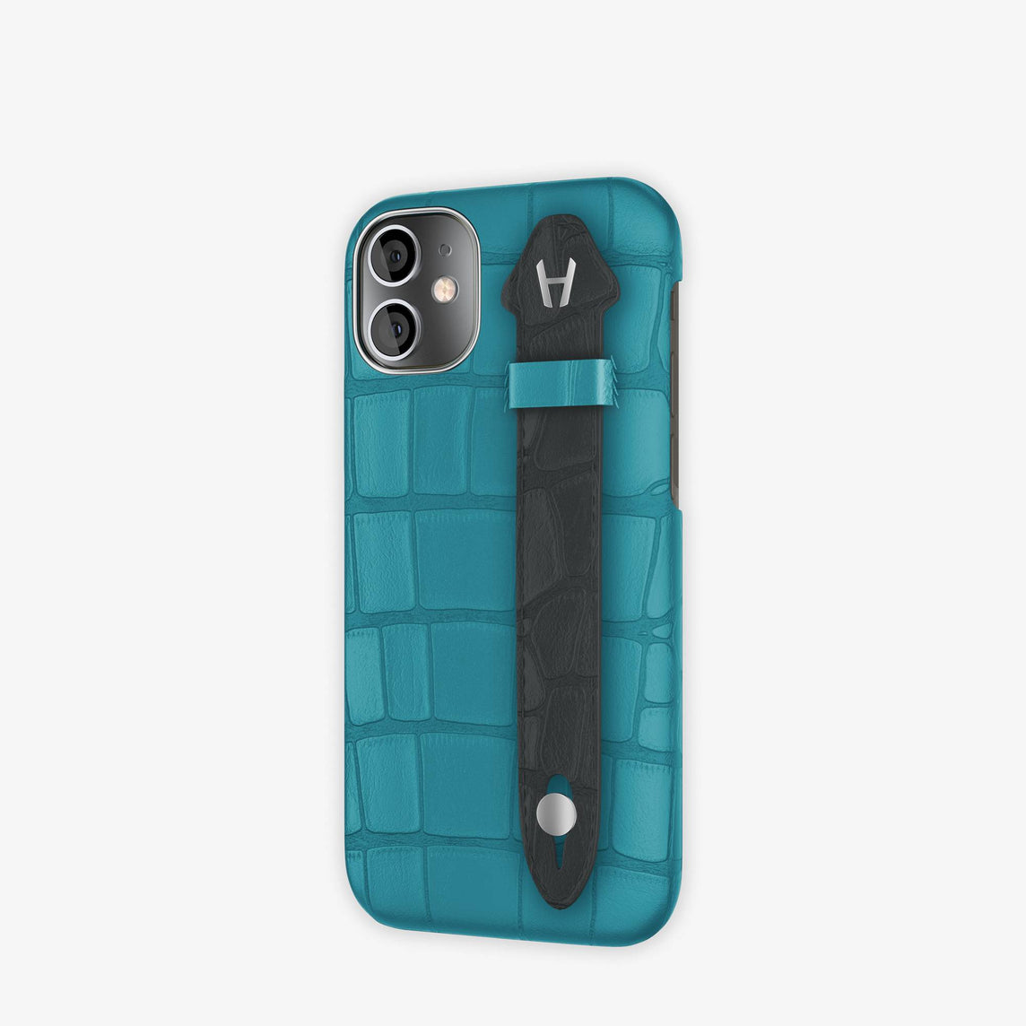 Alligator Side Finger Case iPhone 12 Mini | Blue Teal/Anthracite -Stainless Steel