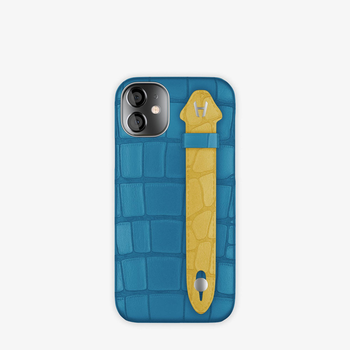Alligator Side Finger Case iPhone 12 Mini | Blue Lagoon/Gold -Stainless Steel