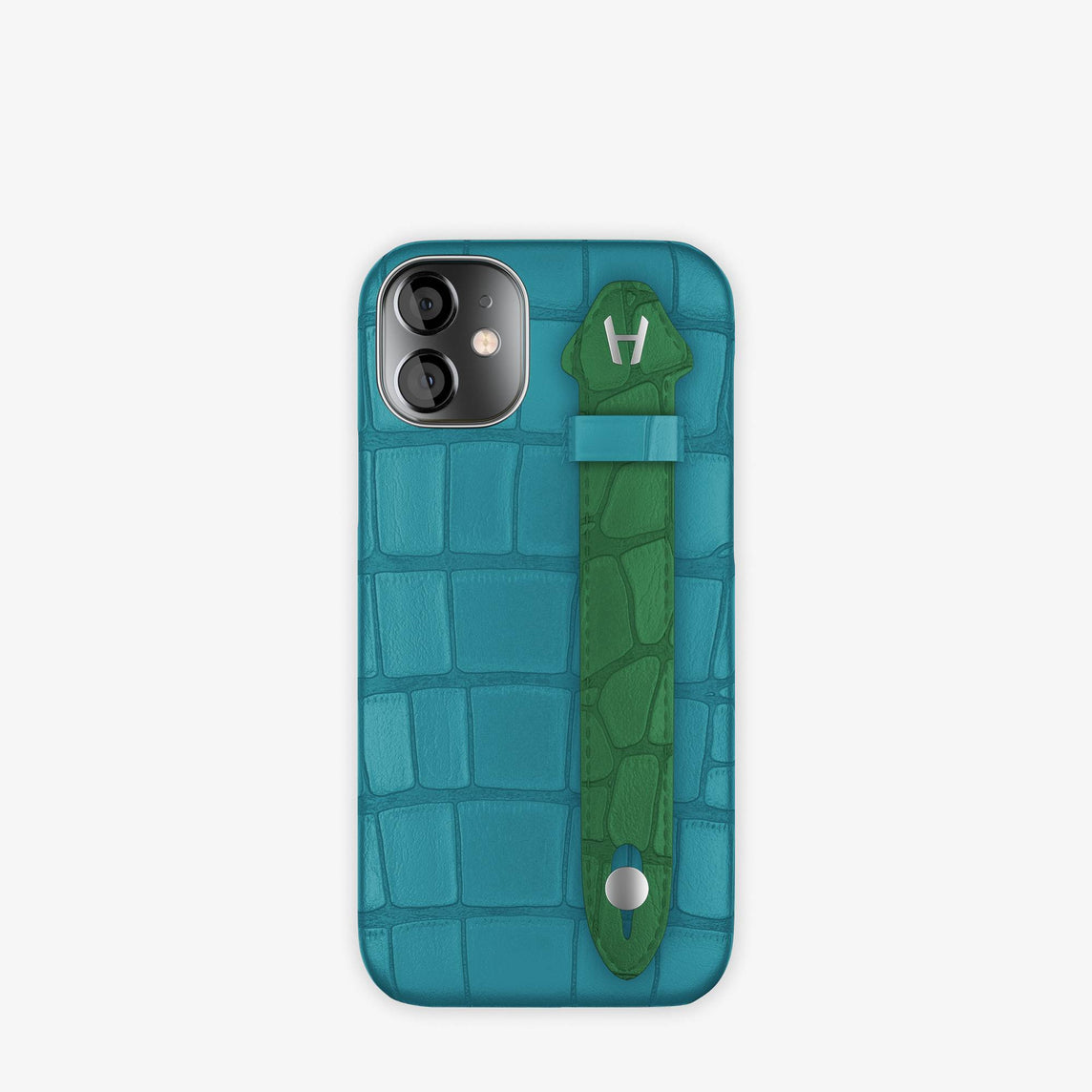 Alligator Side Finger Case iPhone 12 Mini | Blue Teal/Green Emerald -Stainless Steel