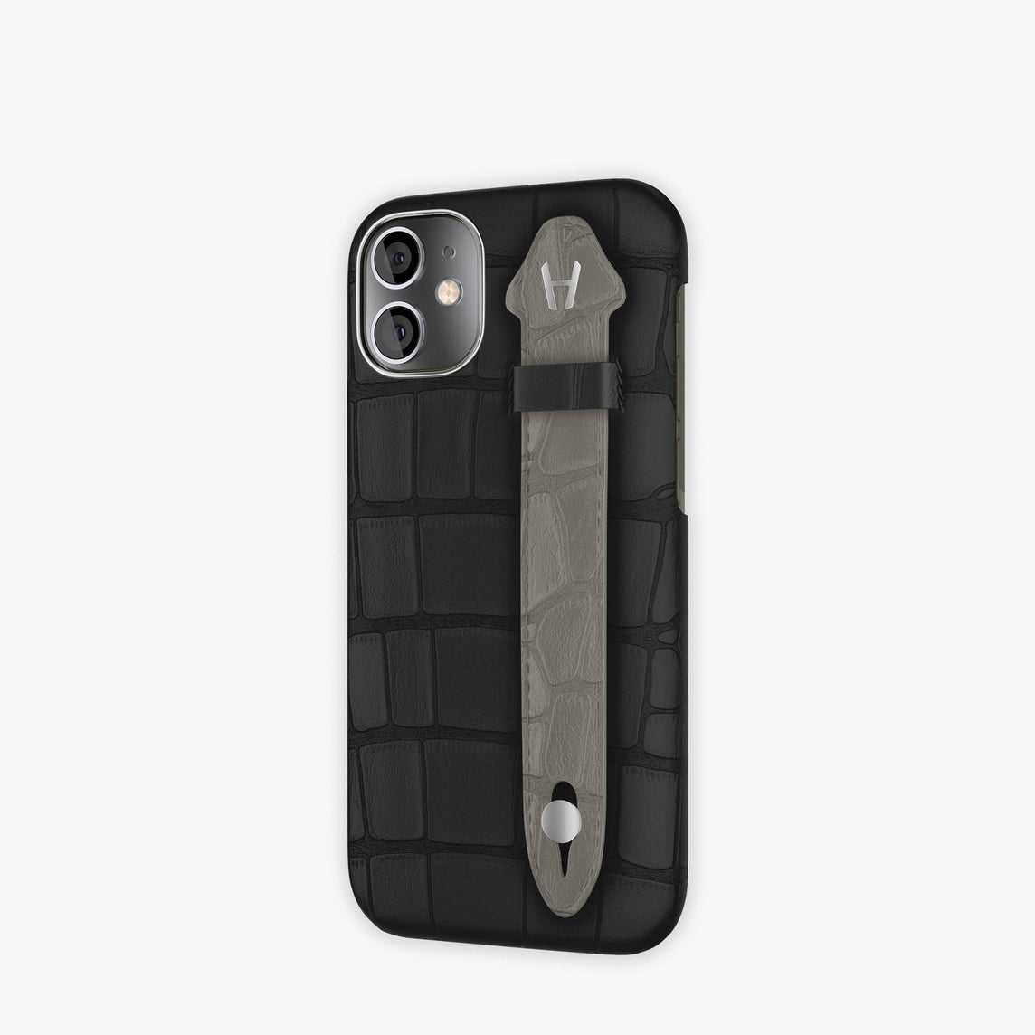 Alligator Side Finger Case iPhone 12 Mini | Black/Grey Pearl  -Stainless Steel