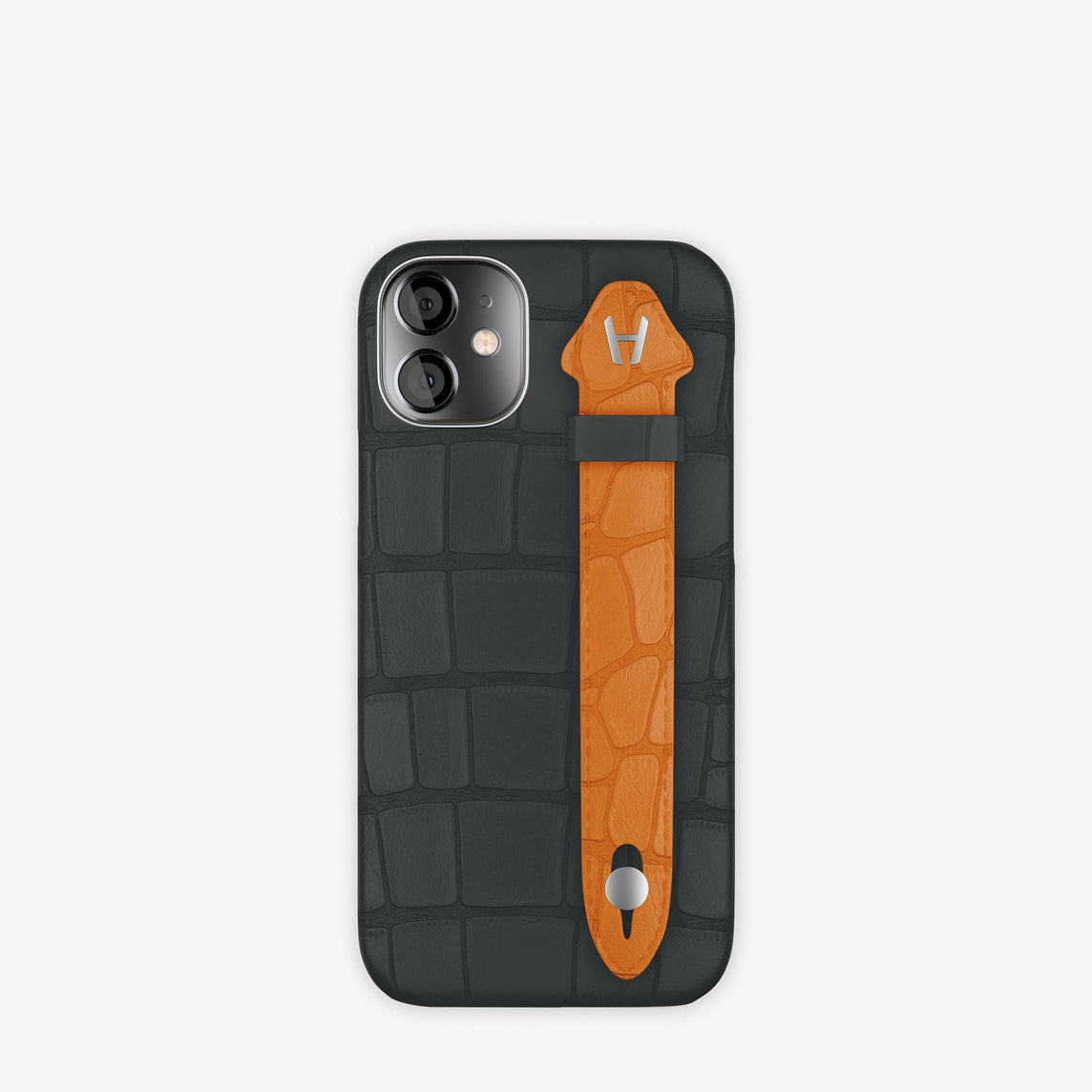 Alligator Side Finger Case iPhone 12 Mini | Anthracite/Orange Apricot -Stainless Steel