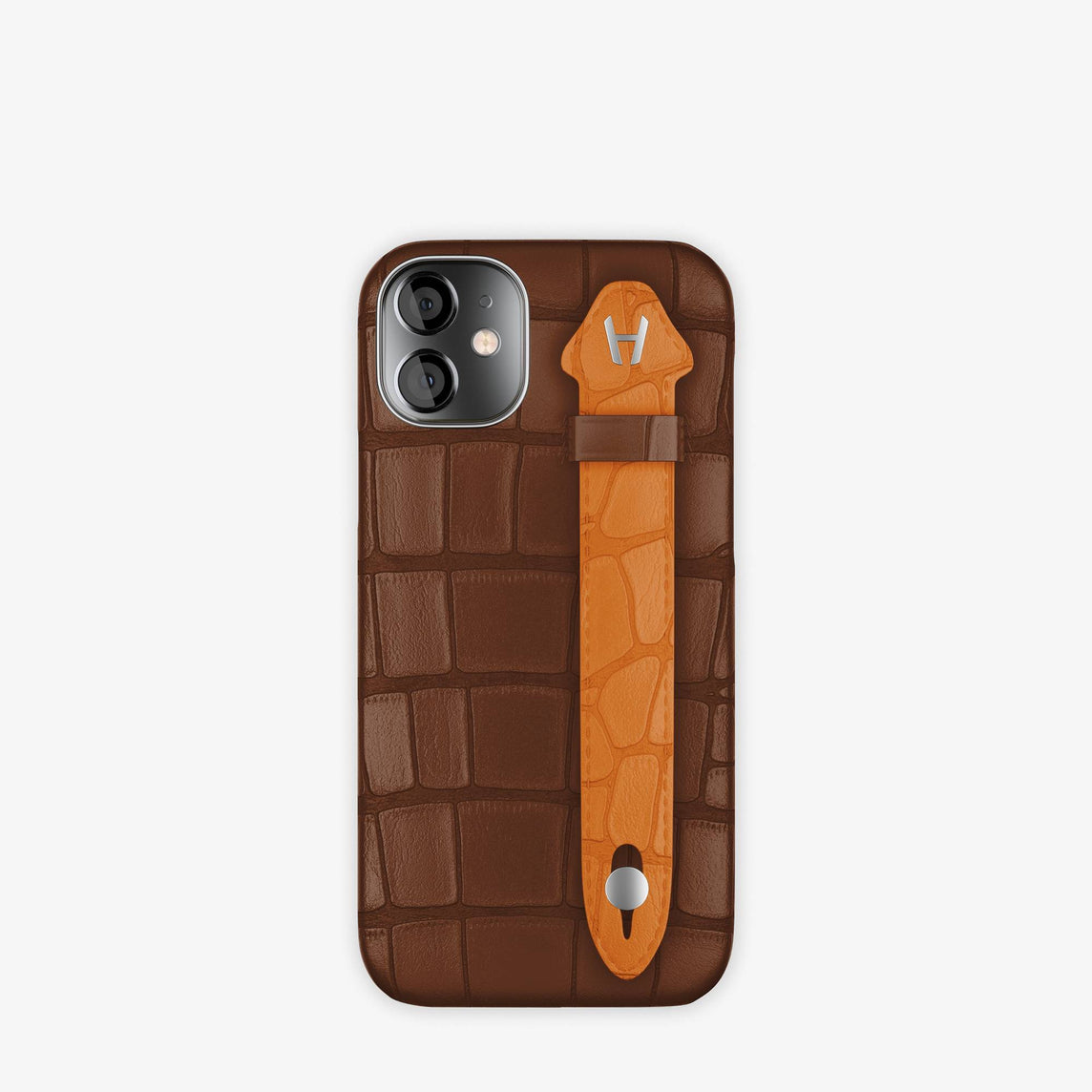 Alligator Side Finger Case iPhone 12 Mini | Brown Chocolat/Orange Apricot -Stainless Steel