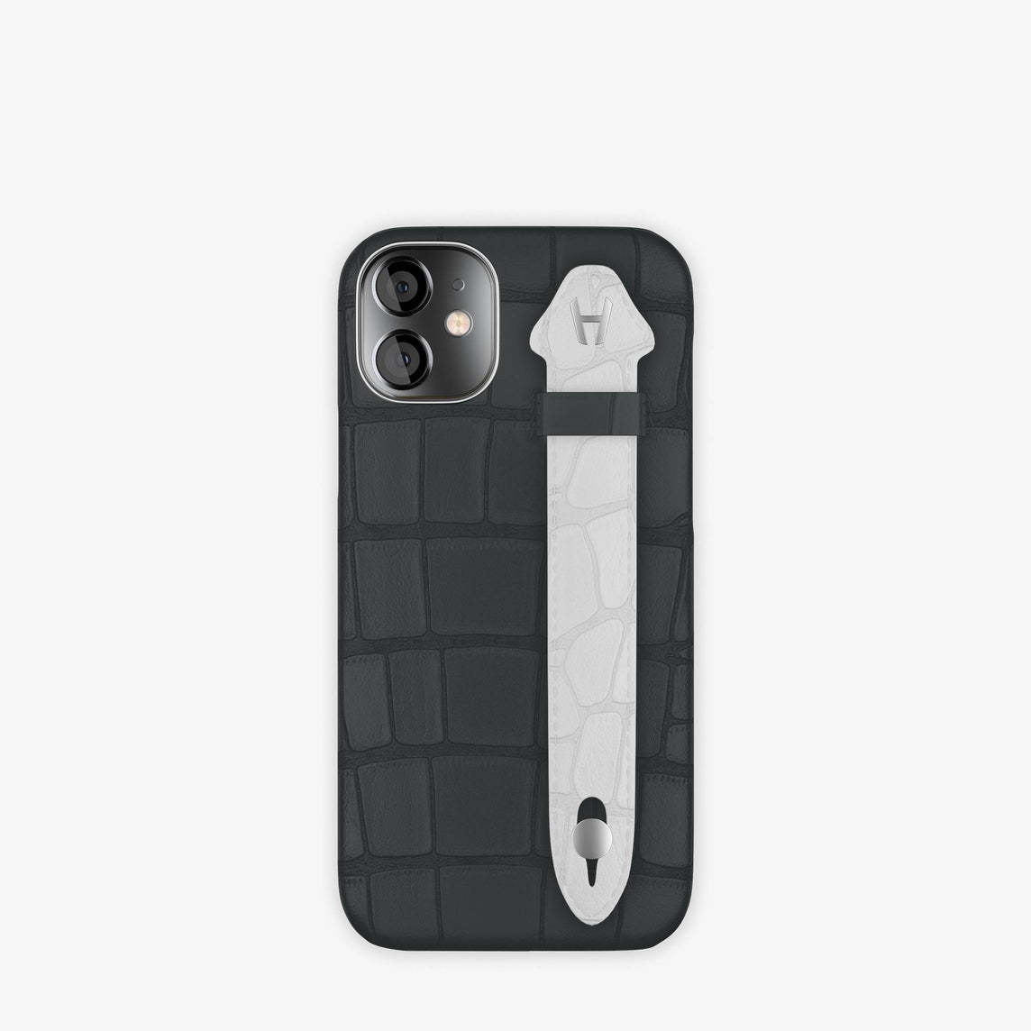 Alligator Side Finger Case iPhone 12 Mini | Anthracite/White -Stainless Steel
