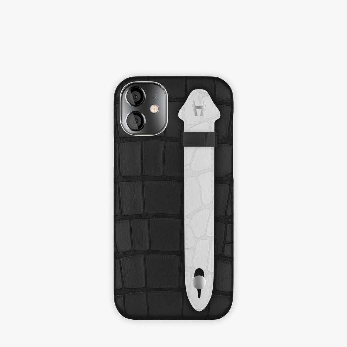 Alligator Side Finger Case iPhone 12 Mini | Black/White -Stainless Steel