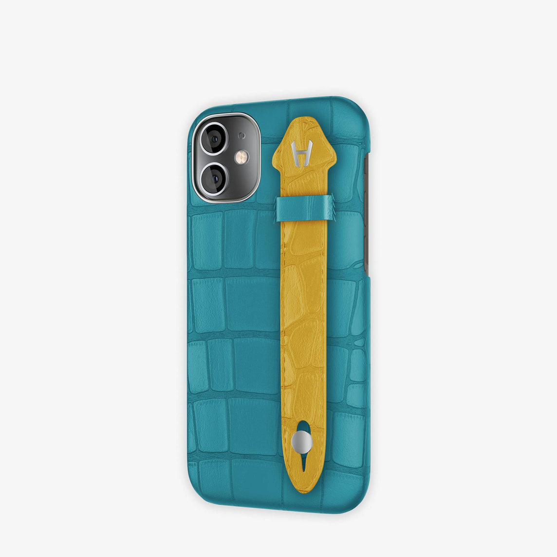 Alligator Side Finger Case iPhone 12 Mini | Blue Teal/Yellow -Stainless Steel