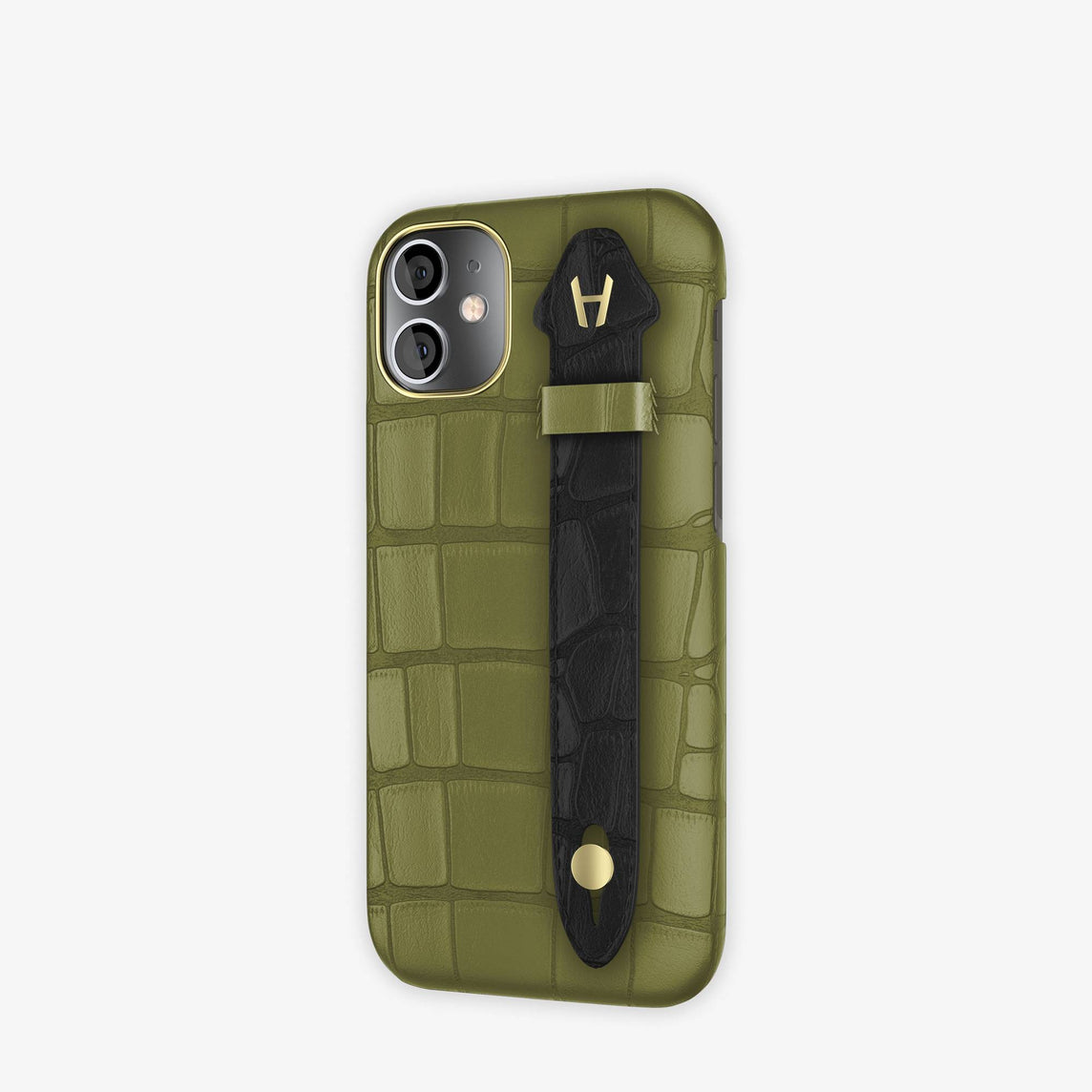 Alligator Side Finger Case iPhone 12 Mini | Khaki/Black -Yellow Gold
