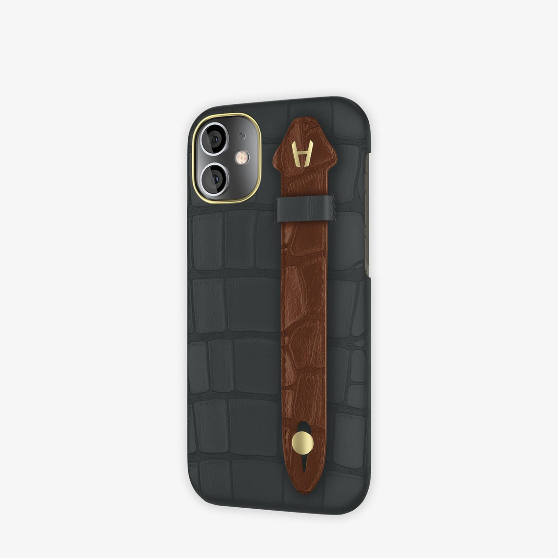 Alligator Side Finger Case iPhone 12 Mini | Anthracite/Brown Chocolat -Yellow Gold