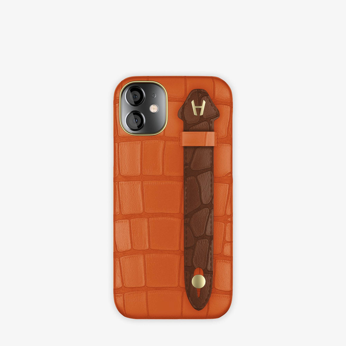 Alligator Side Finger Case iPhone 12 Mini | Orange Sunset/Brown Chocolat -Yellow Gold