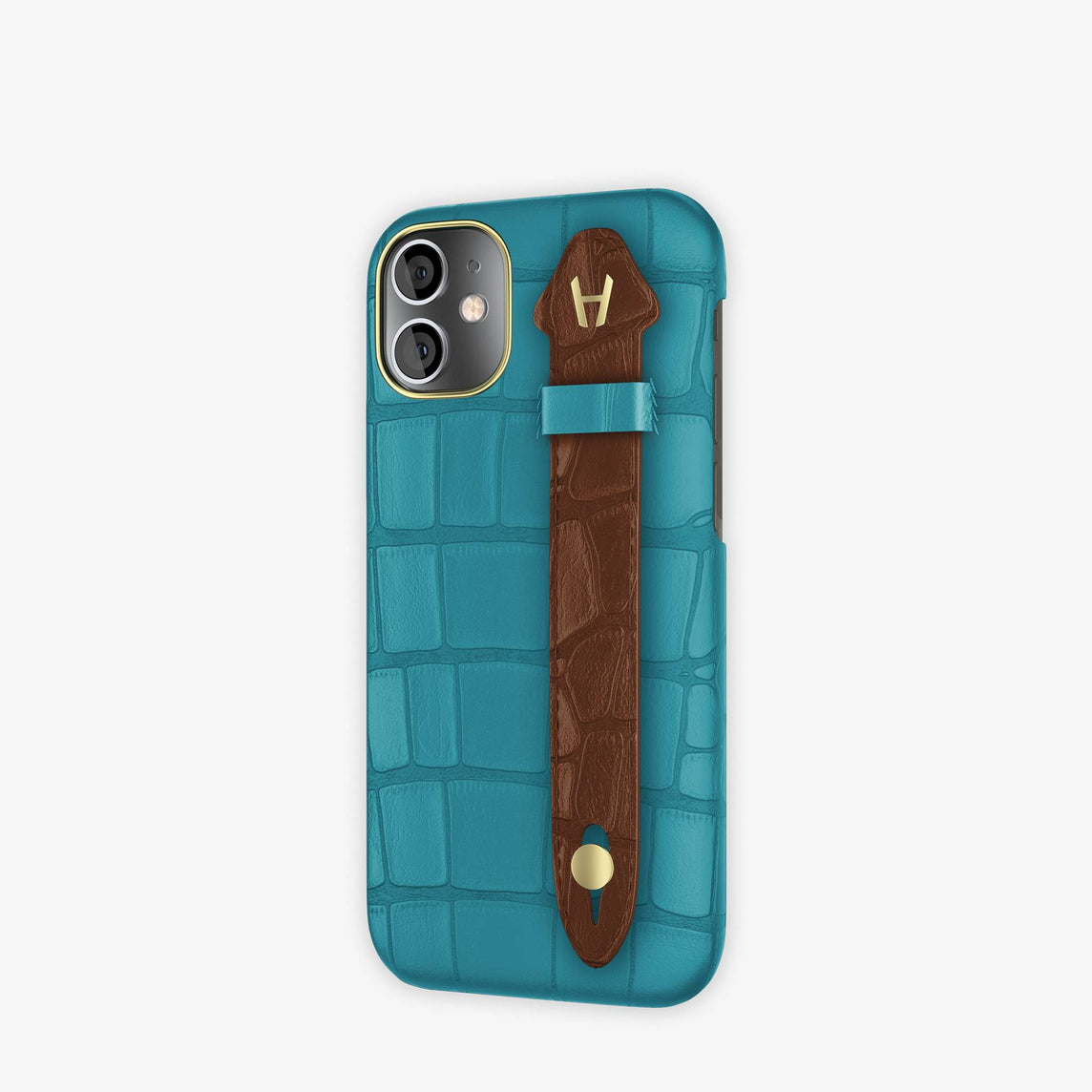 Alligator Side Finger Case iPhone 12 Mini | Blue Teal/Brown Chocolat -Yellow Gold