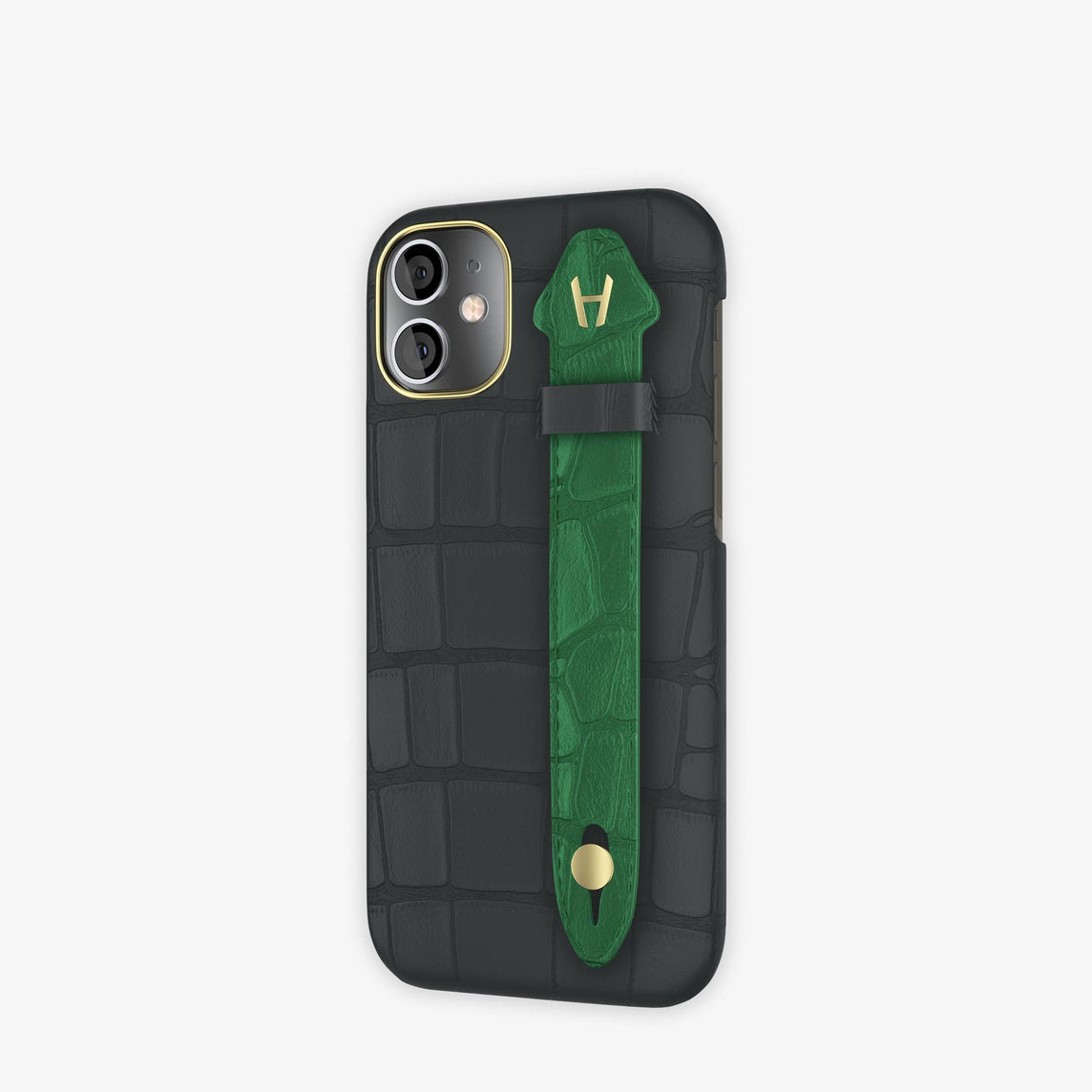 Alligator Side Finger Case iPhone 12 Mini | Anthracite/Green Emerald -Yellow Gold