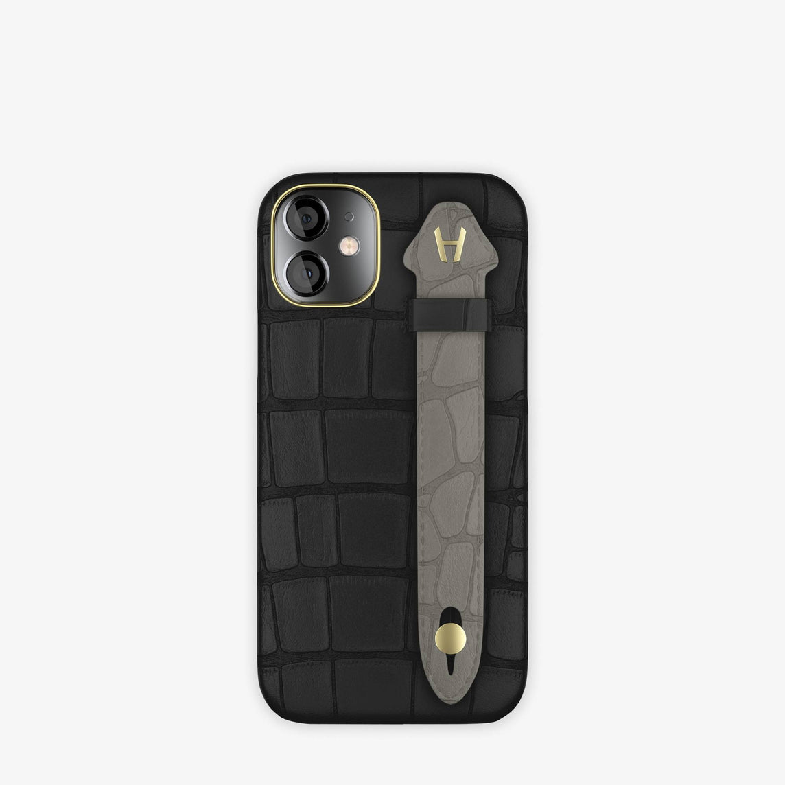 Alligator Side Finger Case iPhone 12 Mini | Black/Grey Pearl  -Yellow Gold