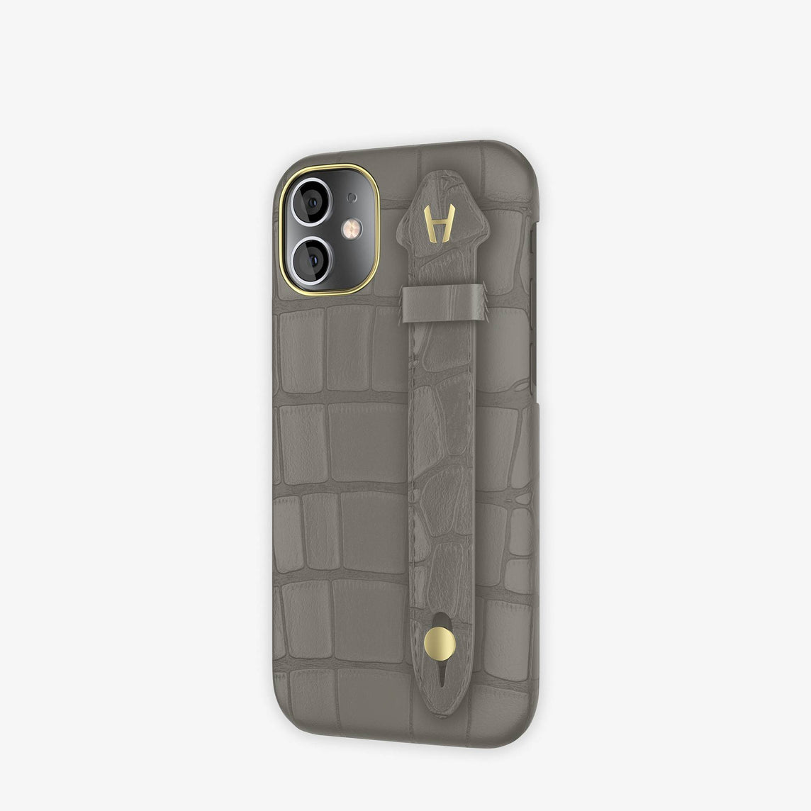 Alligator Side Finger Case iPhone 12 Mini | Grey Pearl/Grey Pearl  -Yellow Gold