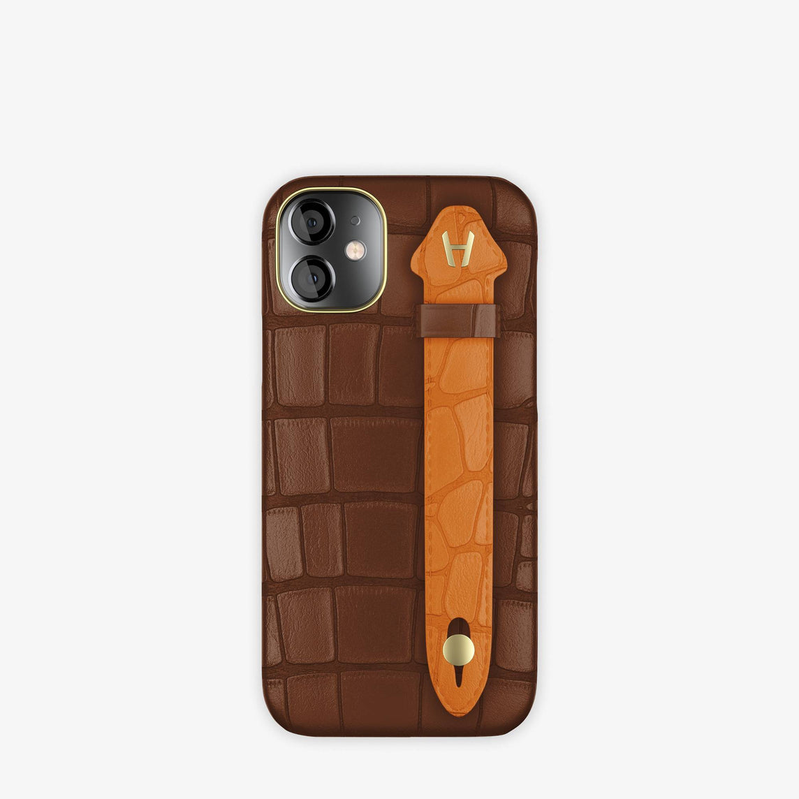 Alligator Side Finger Case iPhone 12 Mini | Brown Chocolat/Orange Apricot -Yellow Gold
