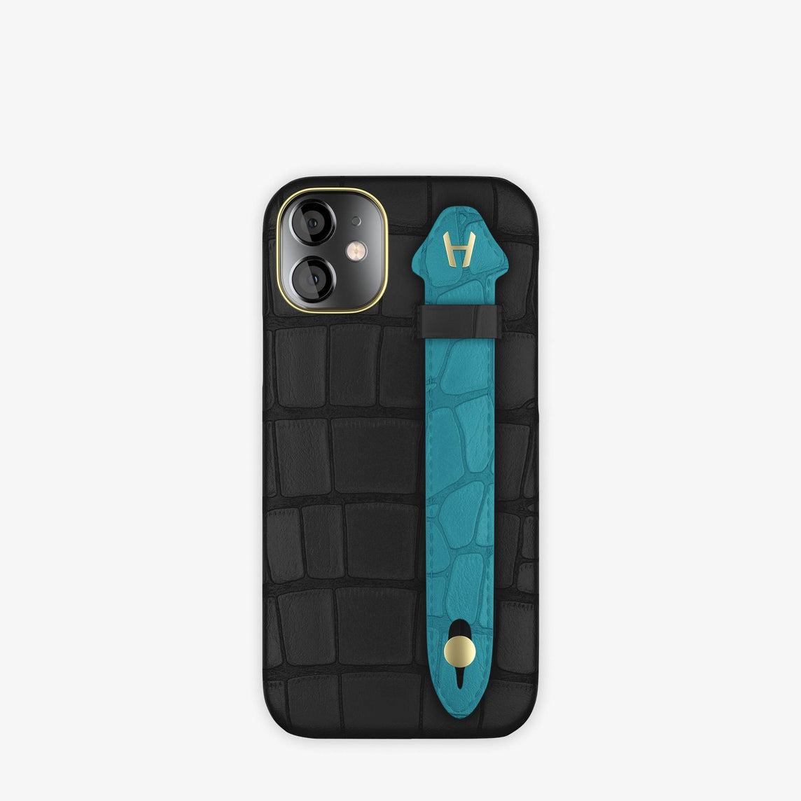Alligator Side Finger Case iPhone 12 Mini | Black/Blue Teal -Yellow Gold